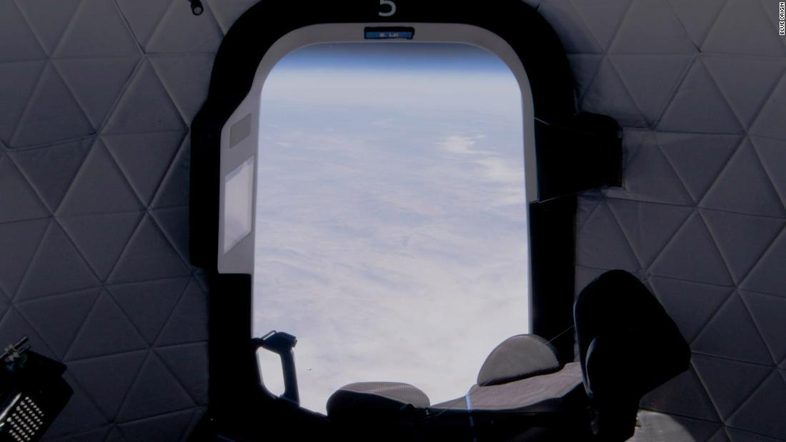 The view from the capsule on Mission NS-15 on April 14, 2021.