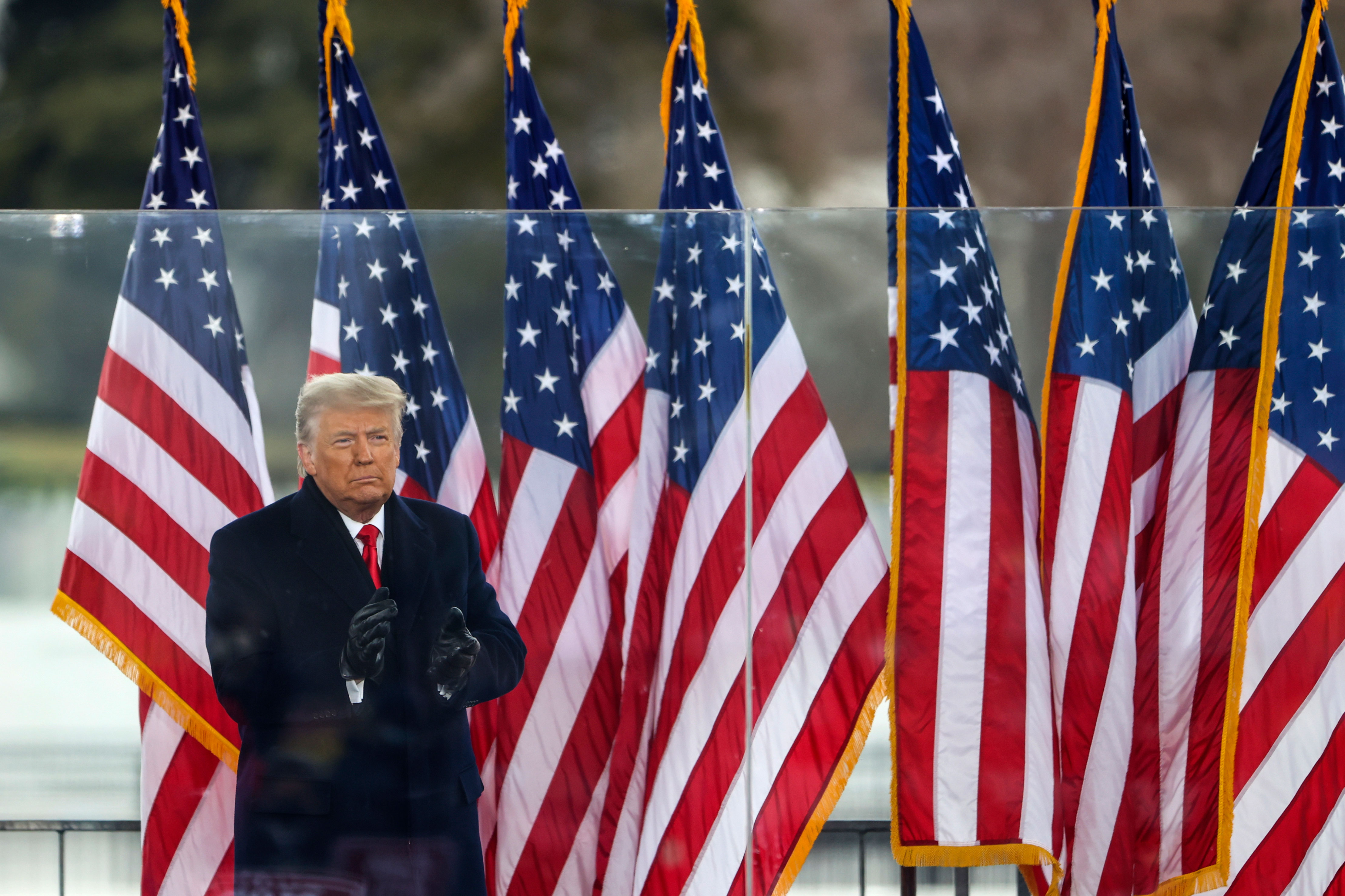 "President Donald Trump greets the crowd at a ""Stop The Steal"" rally in Washington, DC, on January 6."