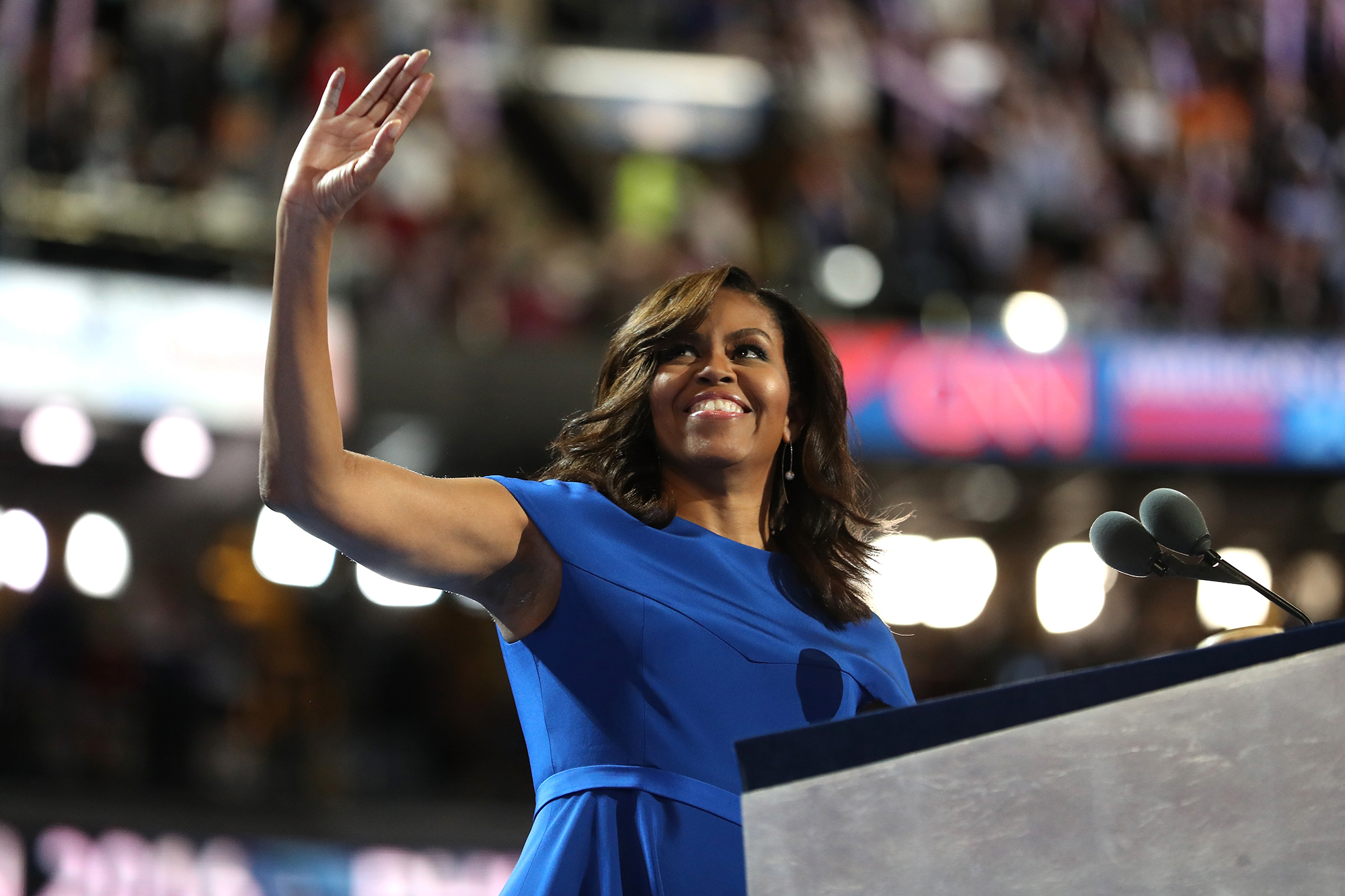 In this July 25, 2016 photo, then-First Lady Michelle Obama acknowledges the crowd after delivering remarks on the first day of the Democratic National Convention in Philadelphia Pennsylvania.