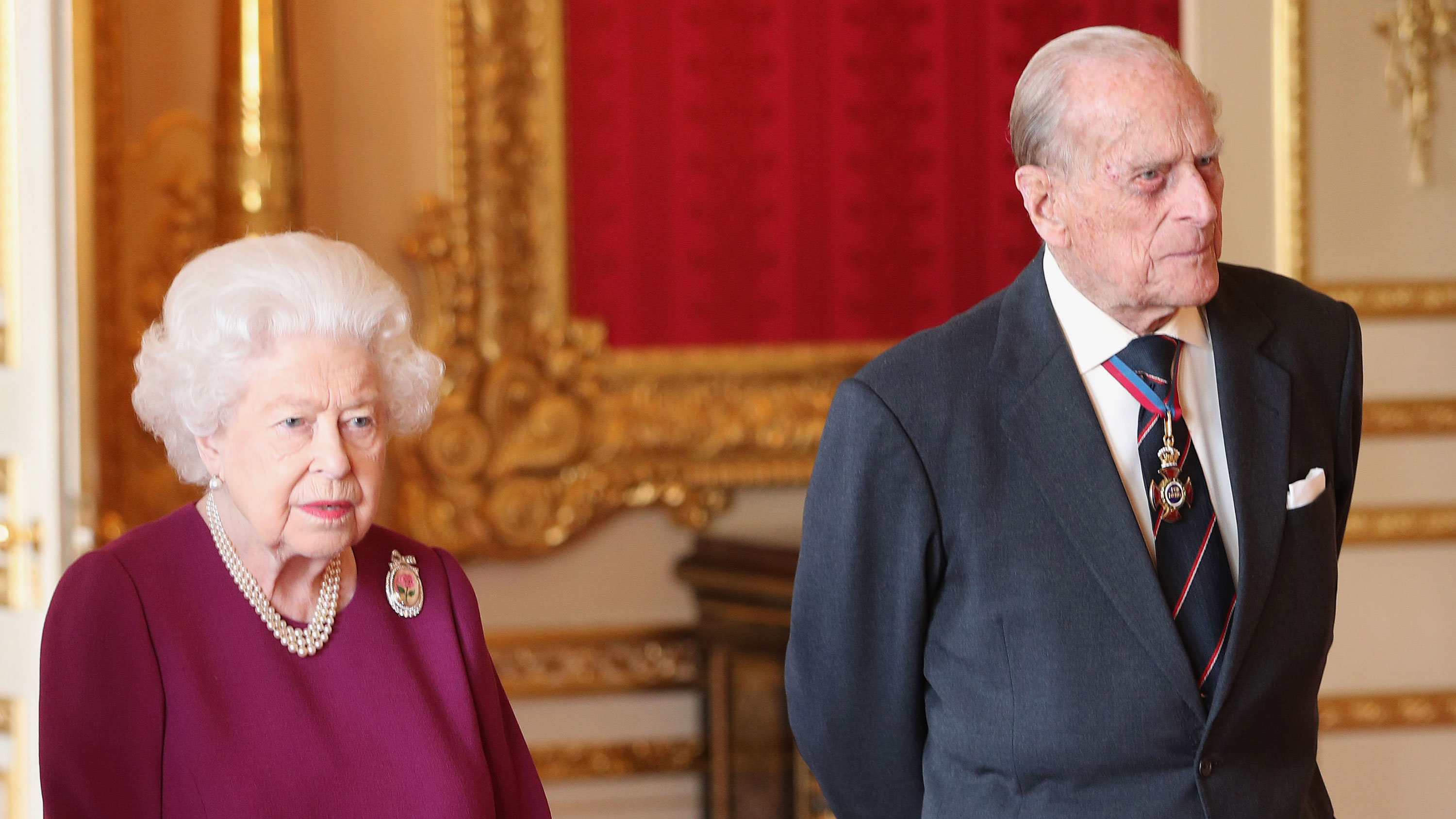 Queen Elizabeth and Prince Philip attend a luncheon at Windsor Castle on May 7, 2019 in Windsor, England.