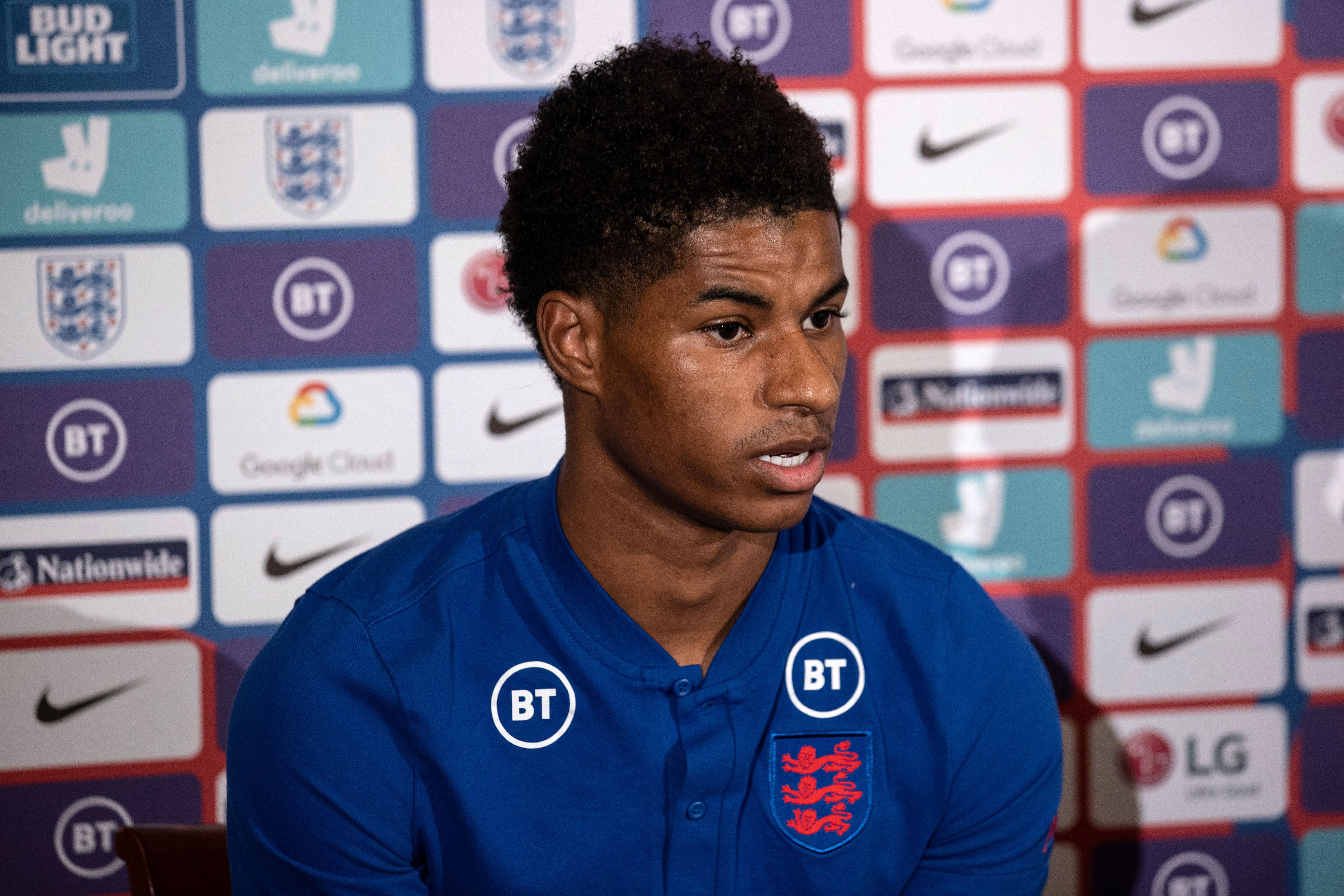 Marcus Rashford, England and Manchester United striker, speaks at a press conference in Surrey, England, on October 13.