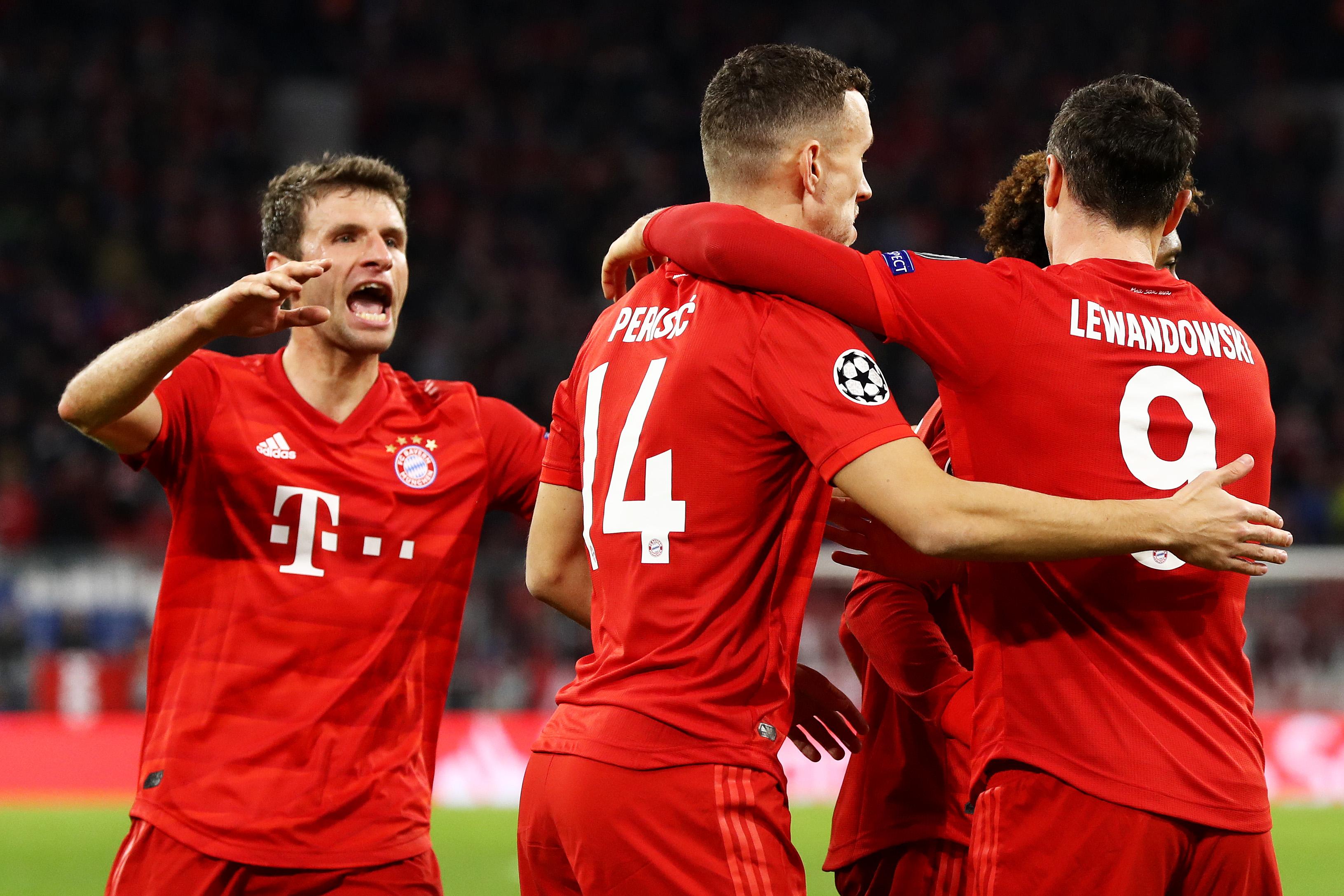 Bayern Munich players celebrate Ivan Perisic's goal.