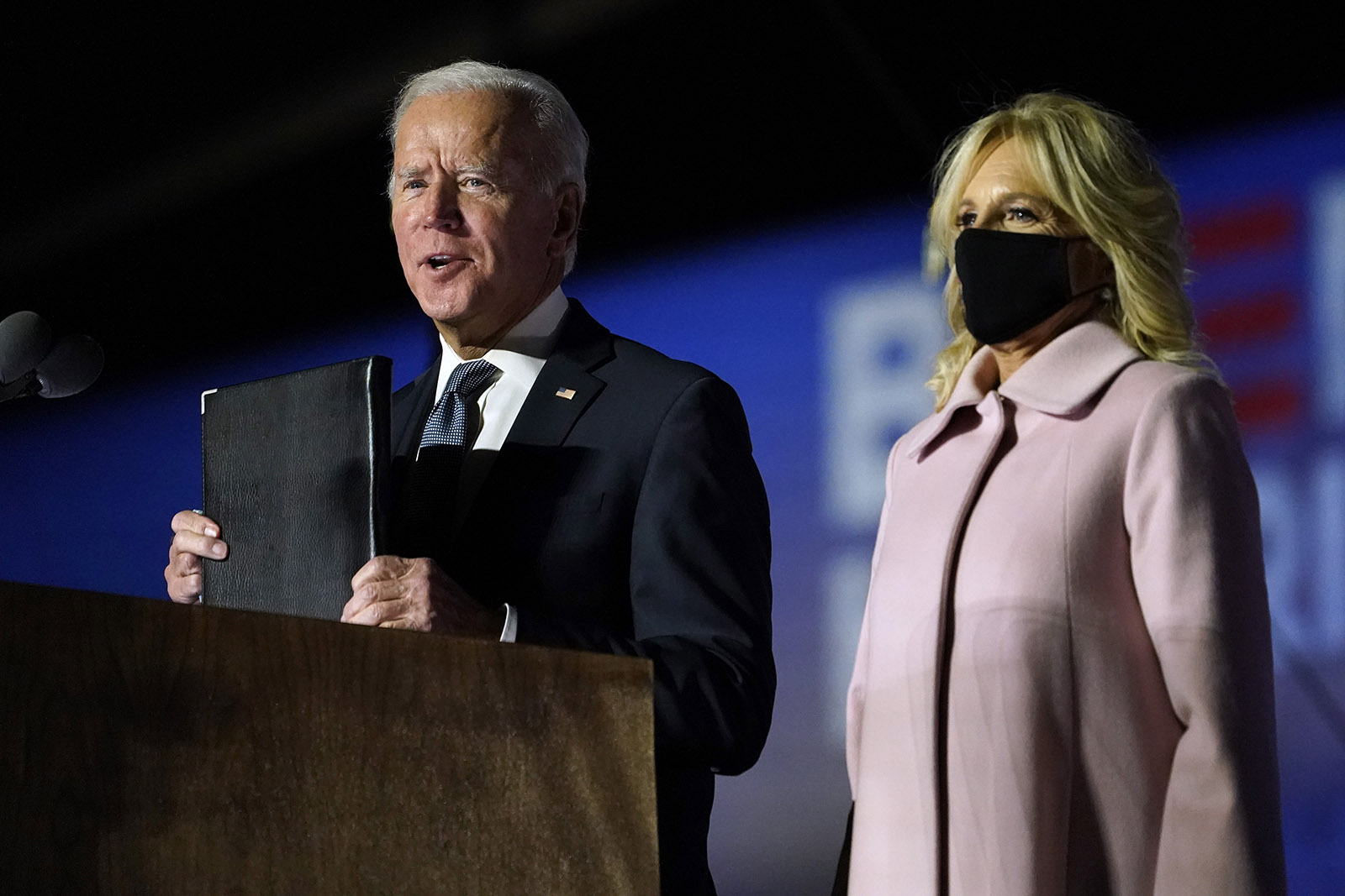Democratic presidential candidate former Vice President Joe Biden speaks to supporters on Wednesday in Wilmington.