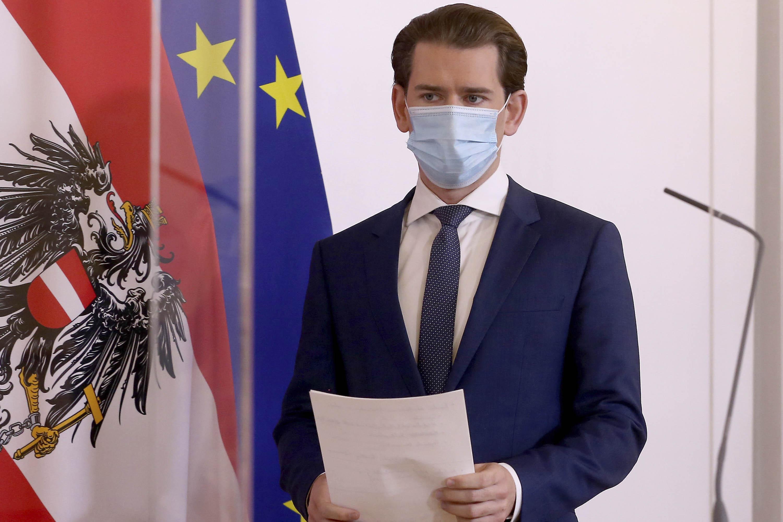 Austrian Chancellor Sebastian Kurz arrives for a press conference in Vienna, Austria, on Monday, October 19.