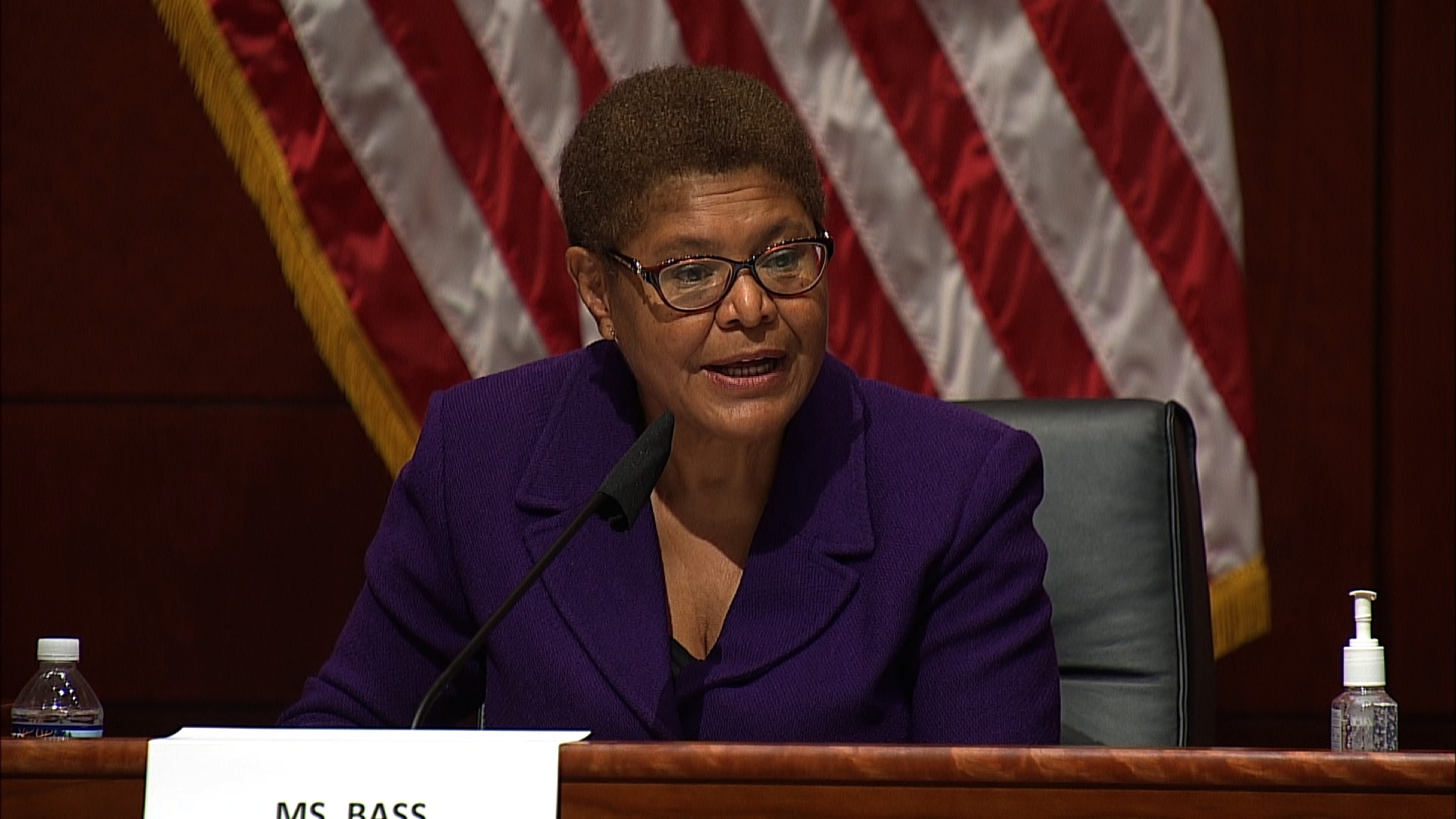 Democratic lawmaker Karen Bass speaks during a House Judiciary Committee hearing to discuss police brutality and racial profiling on June 10 in Washington.