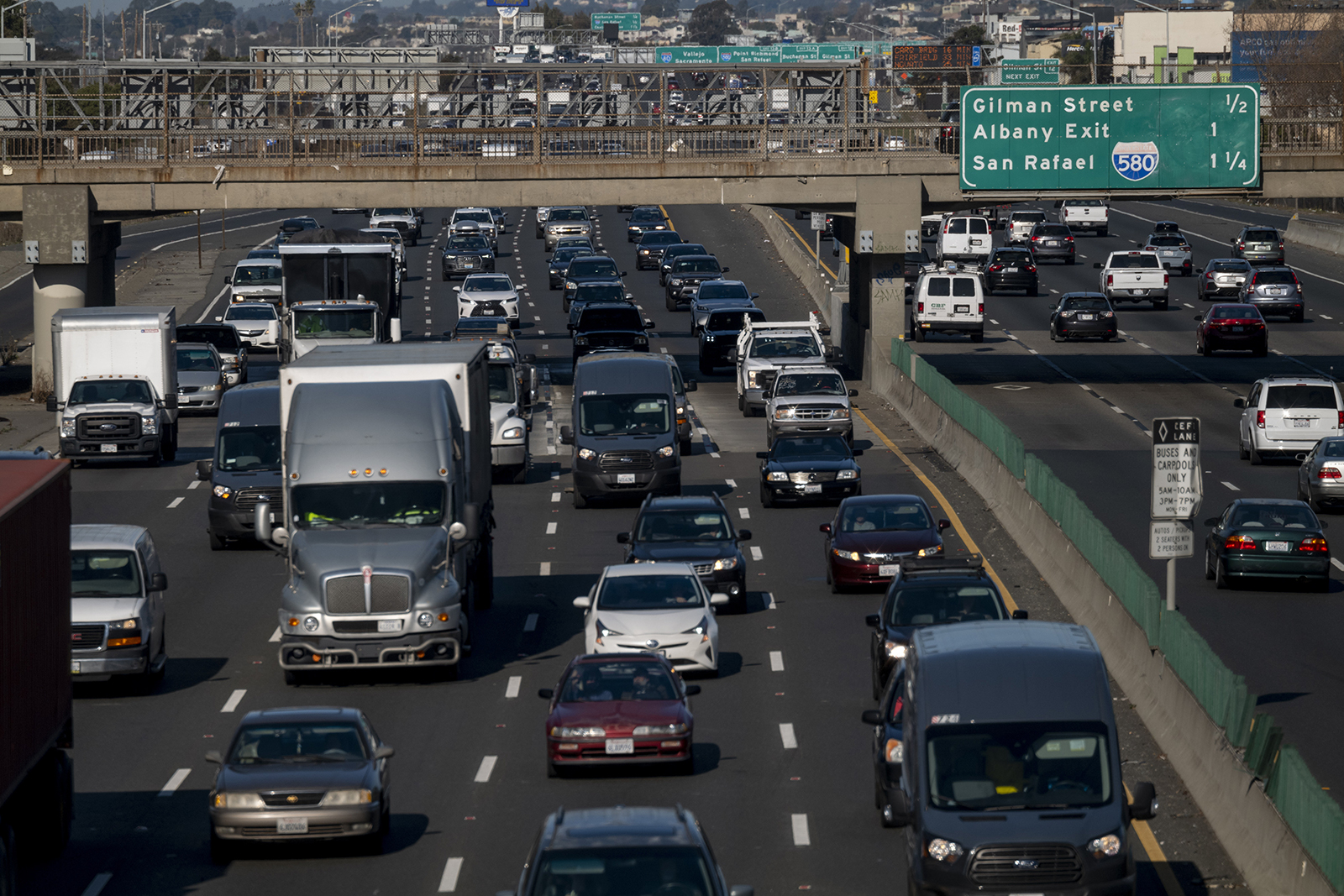 Vehicles travel along Interstate 80 in Berkeley, California, on December, 22, 2020.