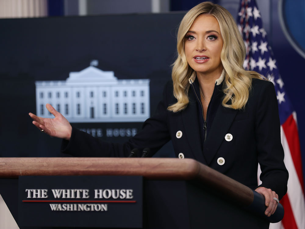 White House Press Secretary Kayleigh McEnany talks to reporters during a news conference at the White House June 1, in Washington.
