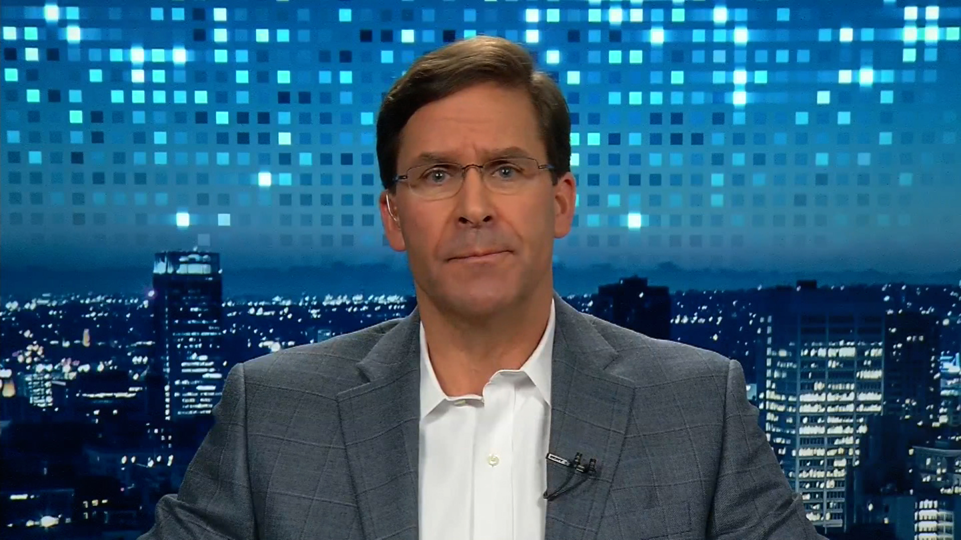 Mark Esper during his interview with Christiane Amanpour.