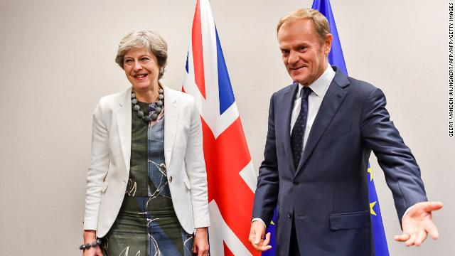 May and Tusk in slightly happier times, during an EU summit in Brussels in October 2017.