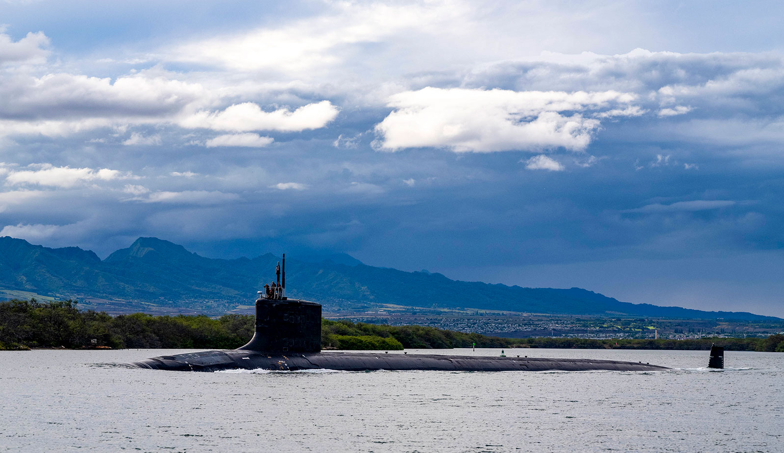 The USS Missouri, one of the US Navy's nuclear-powered submarines, departs Joint Base Pearl Harbor-Hickam on September 1. Last week the US and UK announced they will help Australia acquire nuclear-powered submarines as part of a new security pact called AUKUS.