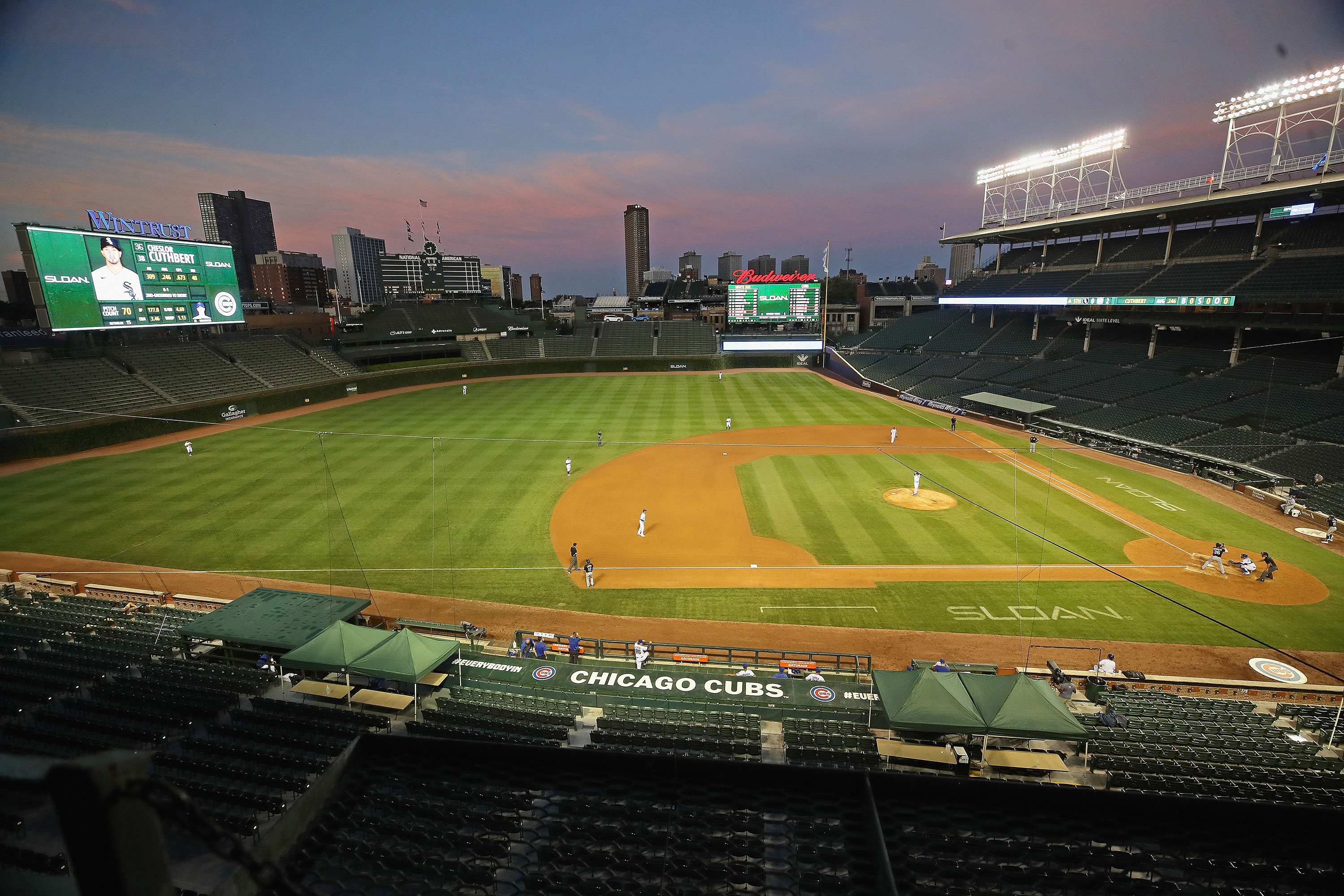 The Chicago Cubs take on the Chicago White Sox in an empty Wrigley Field on July 19.