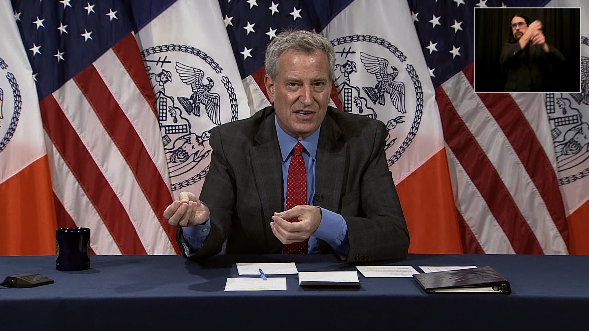 New York City Mayor Bill de Blasio speaks during a press conference in New York on July 2.