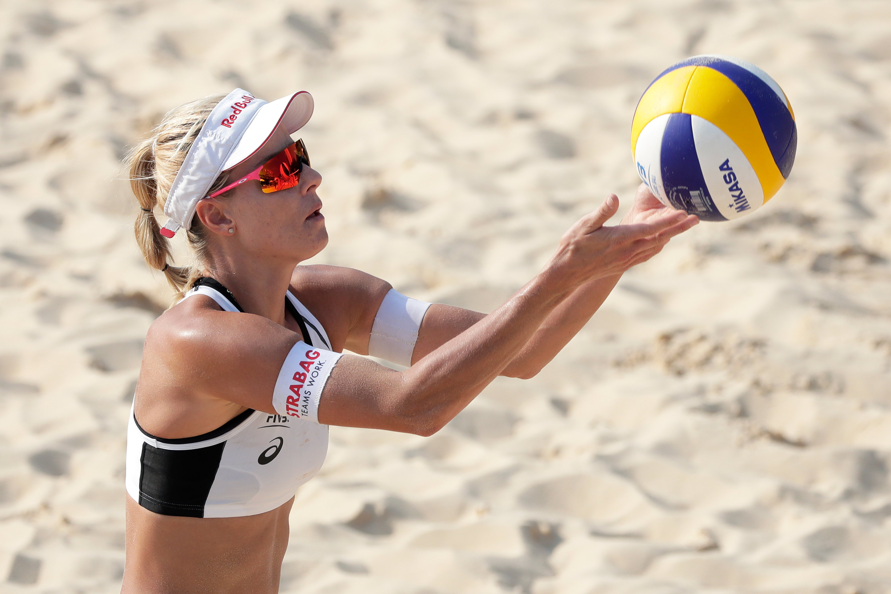 MarkétaSluková-Nausch of the Czech Republic prepares to serve in the FIVB Beach Volleyball World Tour Tokyo at Shiokaze Park on July 25, 2019, in Tokyo, Japan.