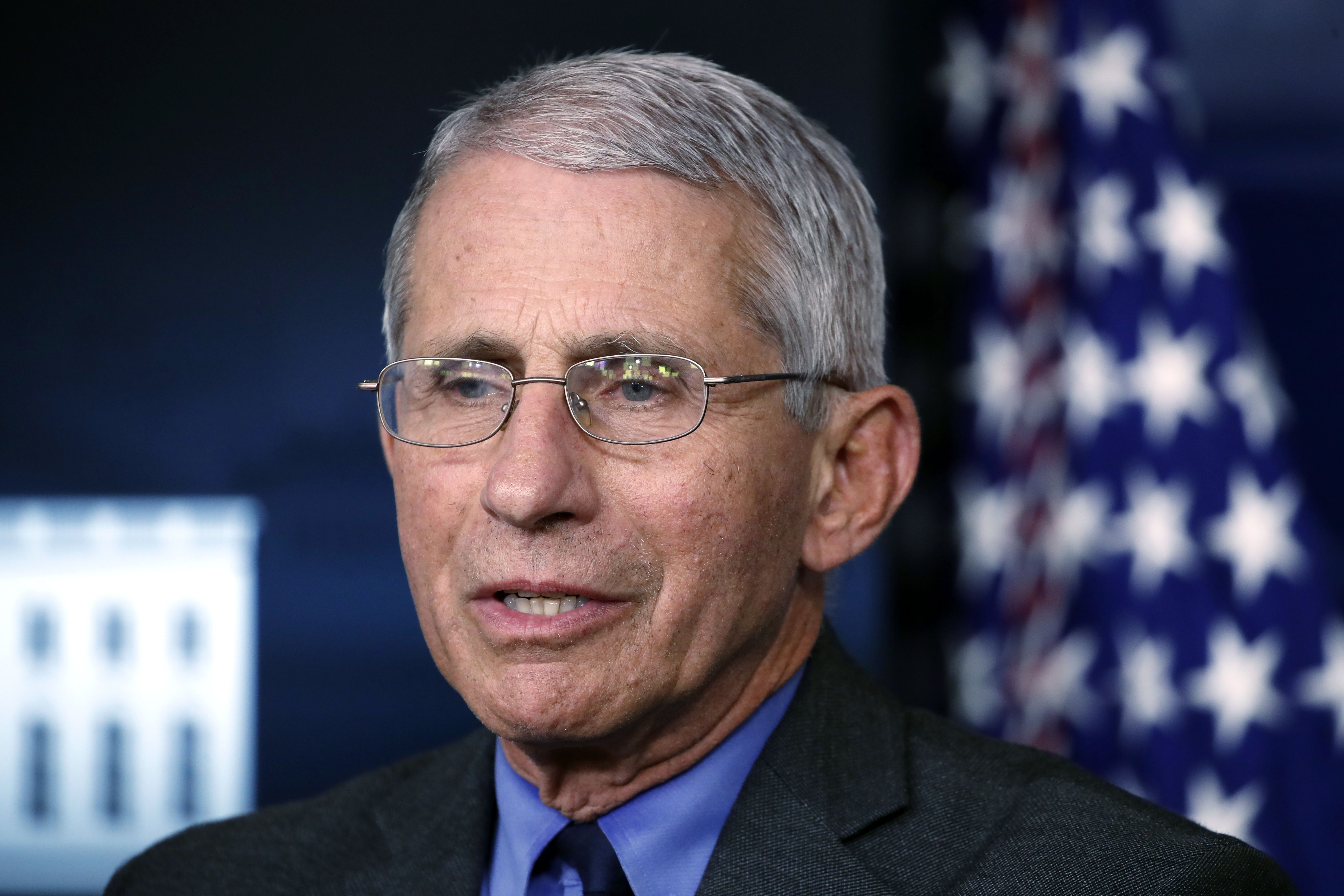 Dr. Anthony Fauci,director of the National Institute of Allergy and Infectious Diseases, speaks about the coronavirus pandemic at a White House press briefing on April 13.