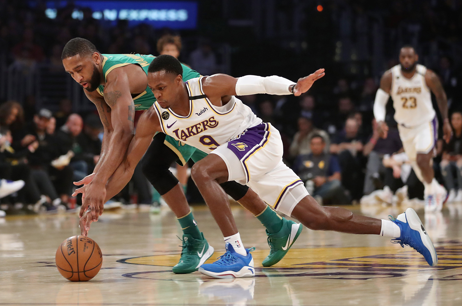 Rajon Rondo #9 of the Los Angeles Lakers fights for the ball from Brad Wanamaker #9 of the Boston Celtics during the second quarter at Staples Center on February 23, in Los Angeles, California.