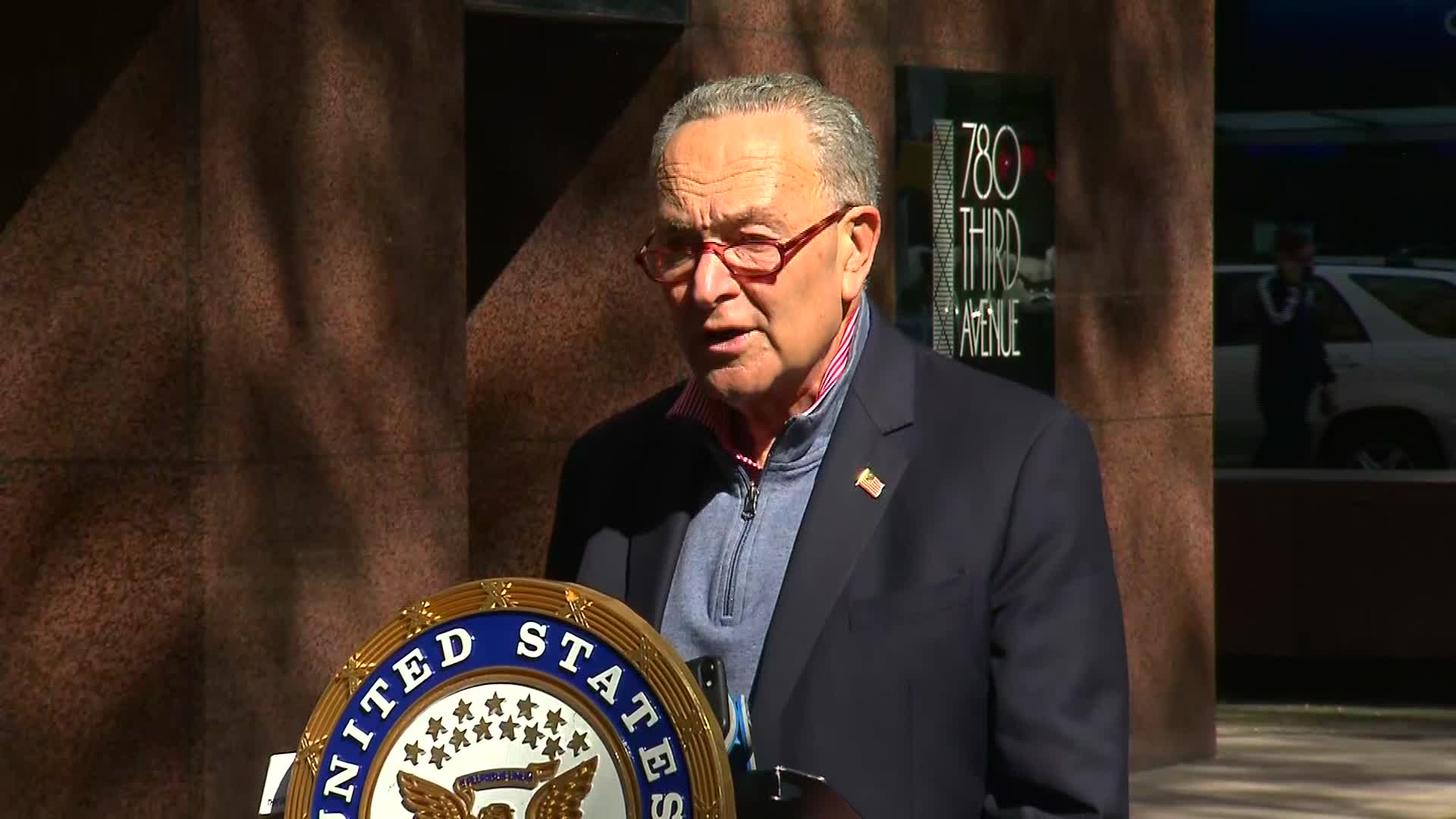 Senate Minority Leader Chuck Schumer speaks during a press conference in New York on October 4.