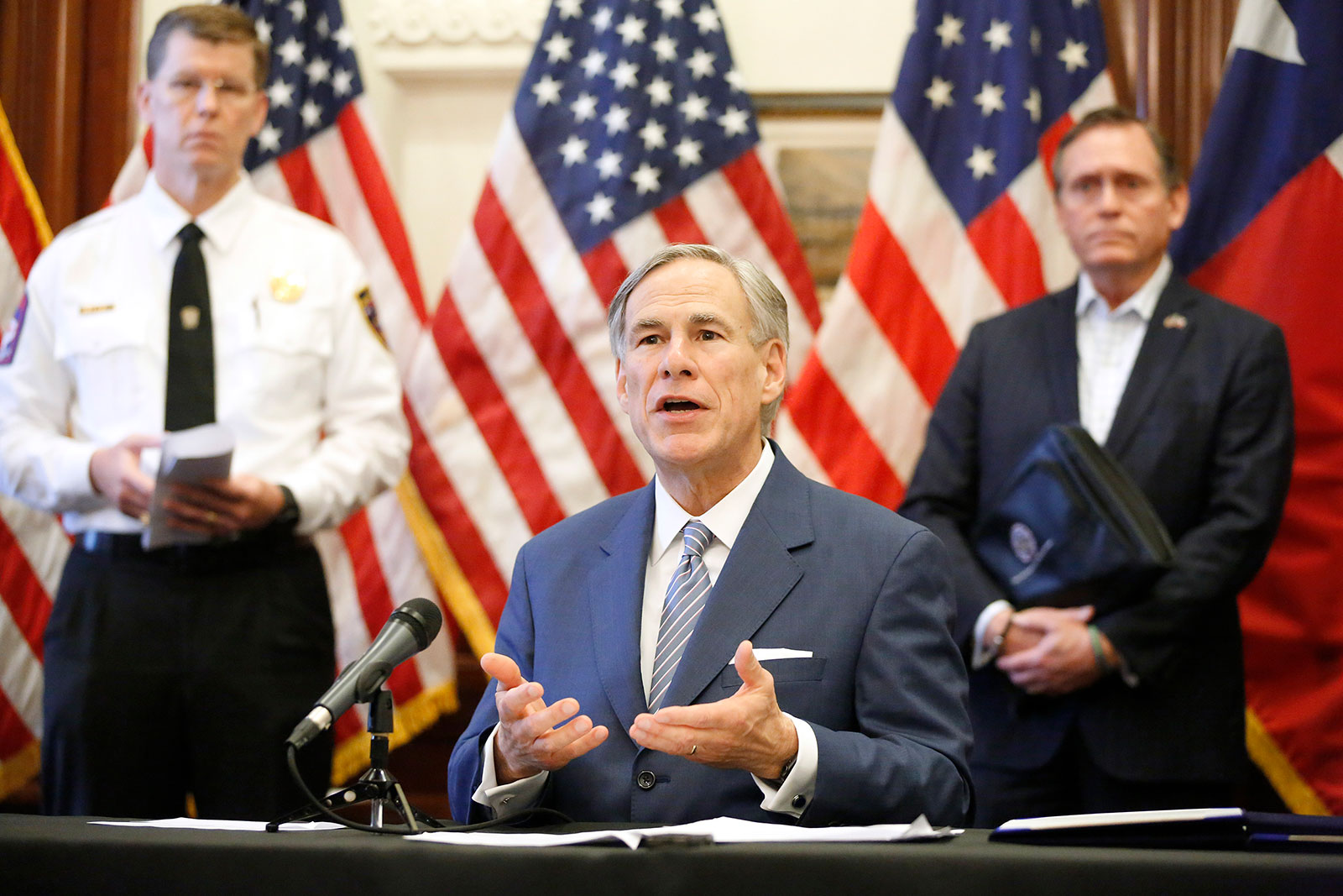 Texas Governor Greg Abbott speaks during a press briefing in Austin, Texas, on March 29.
