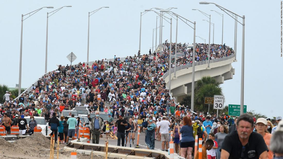 Huge crowds of spectators gathered in Titusville, FL to watch the first NASA SpaceX launch on Wednesday, May 27, 2020.
