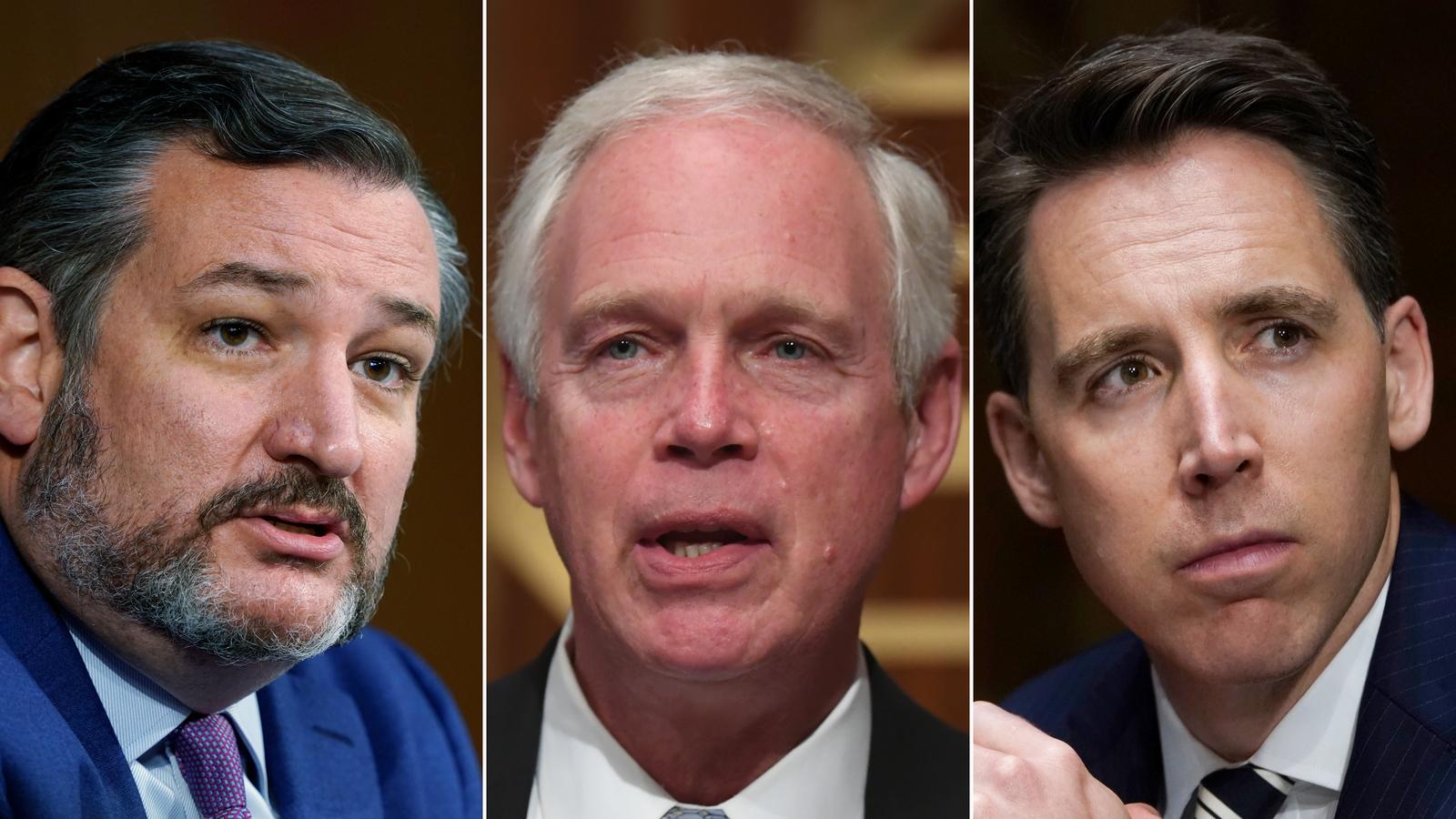 Sens. Ted Cruz, Ron Johnson and Josh Hawley.