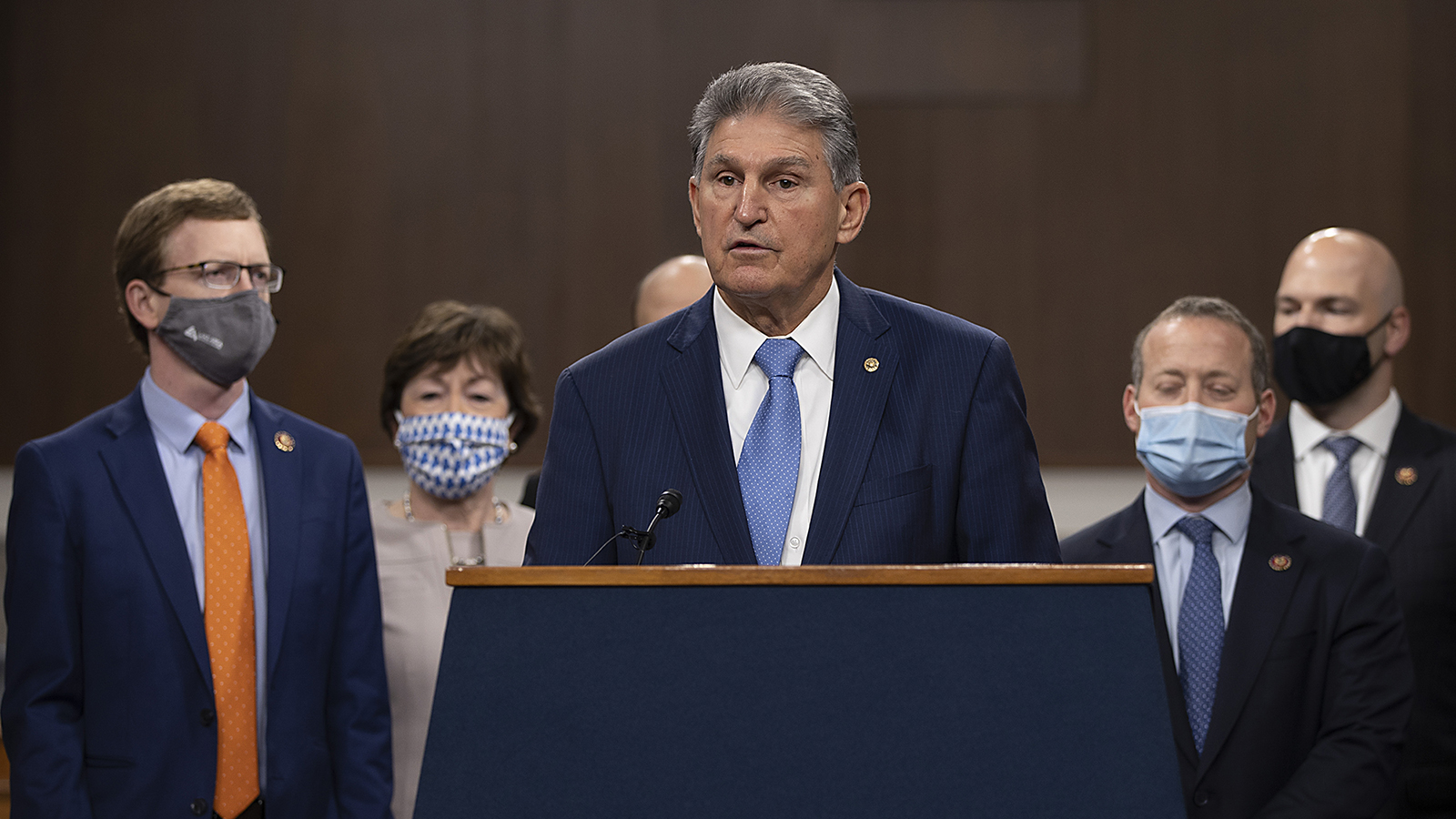 Sen. Joe Manchin speaks alongside a bipartisan group of Democrat and Republican members of Congress as they announce a proposal for a Covid-19 relief bill on Capitol Hill on December 1, in Washington.
