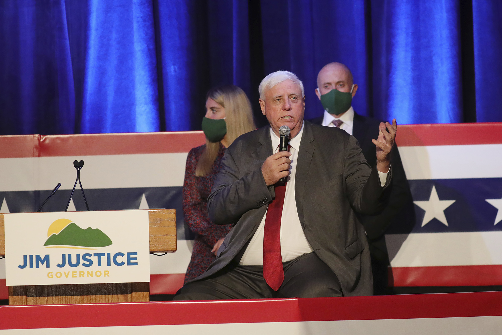 West Virginia Gov. Jim Justice celebrates his reelection at The Greenbrier Resort, on Tuesday, November 3, in White Sulphur Springs, West Virginia.