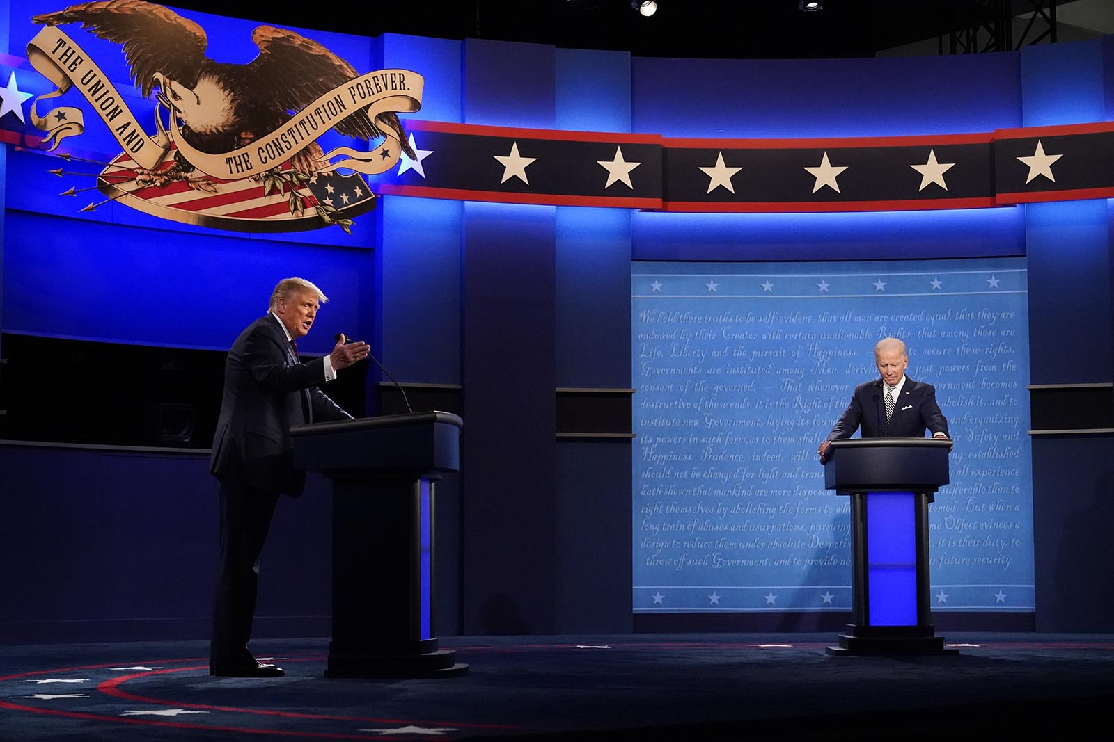 President Donald Trump and Democratic presidential candidate former Vice President Joe Biden during the first presidential debate Tuesday, Sept. 29, in Cleveland, Ohio.