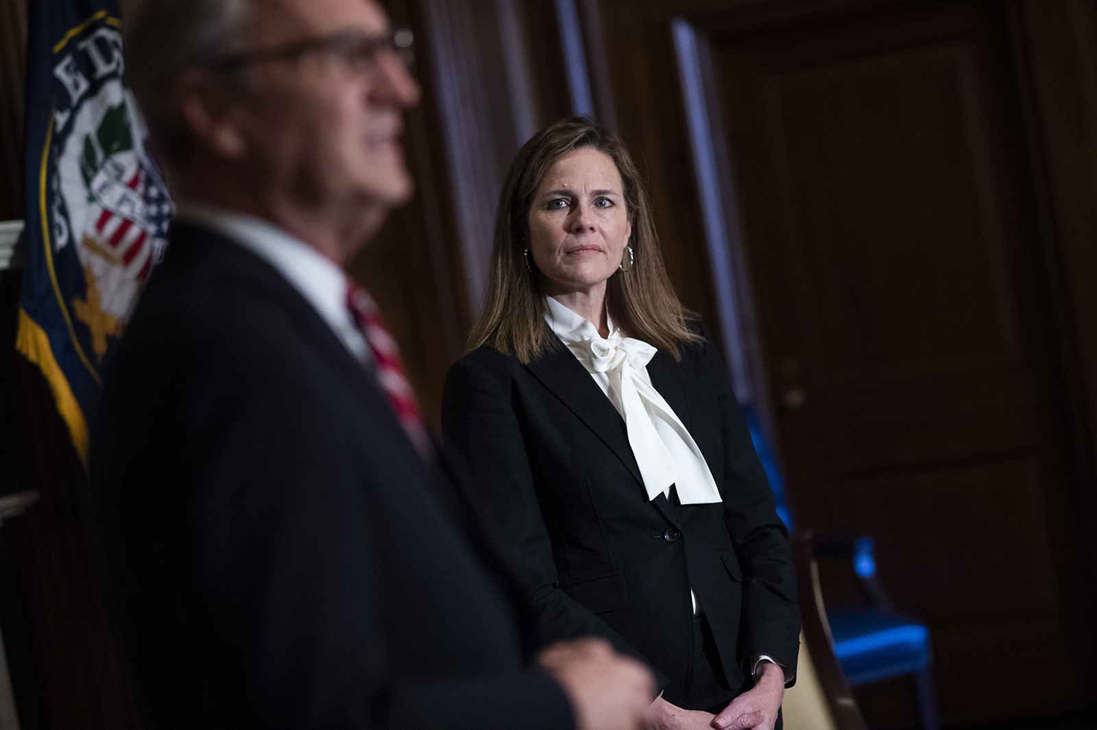 Seventh U.S. Circuit Court Judge Amy Coney Barrett, President Trump's pick for the Supreme Court, meets with Sen. Kevin Cramer in the Mansfield Room of the U.S. Capitol on October 1 in Washington.