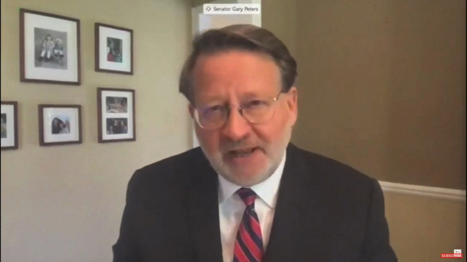 DemocraticSen. Gary Peters, the ranking member on the Senate Homeland Security and Governmental Affairs Committee, speaks during a virtual hearing of the Senate Homeland Security and Governmental Affairs Committee on August 21.