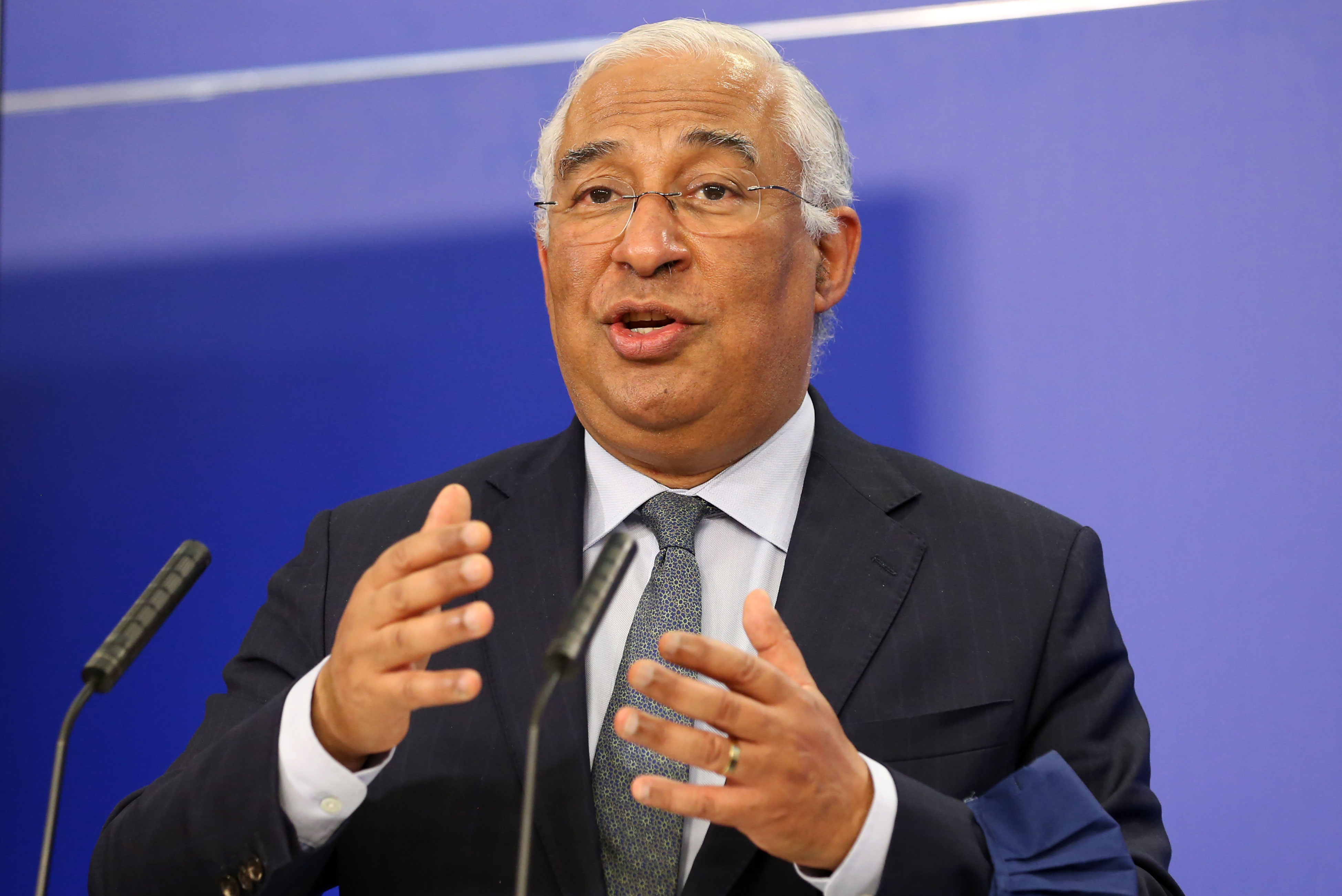 Portuguese Prime Minister António Costa speaks at a news conference in Brussels, Belgium, on January 20.