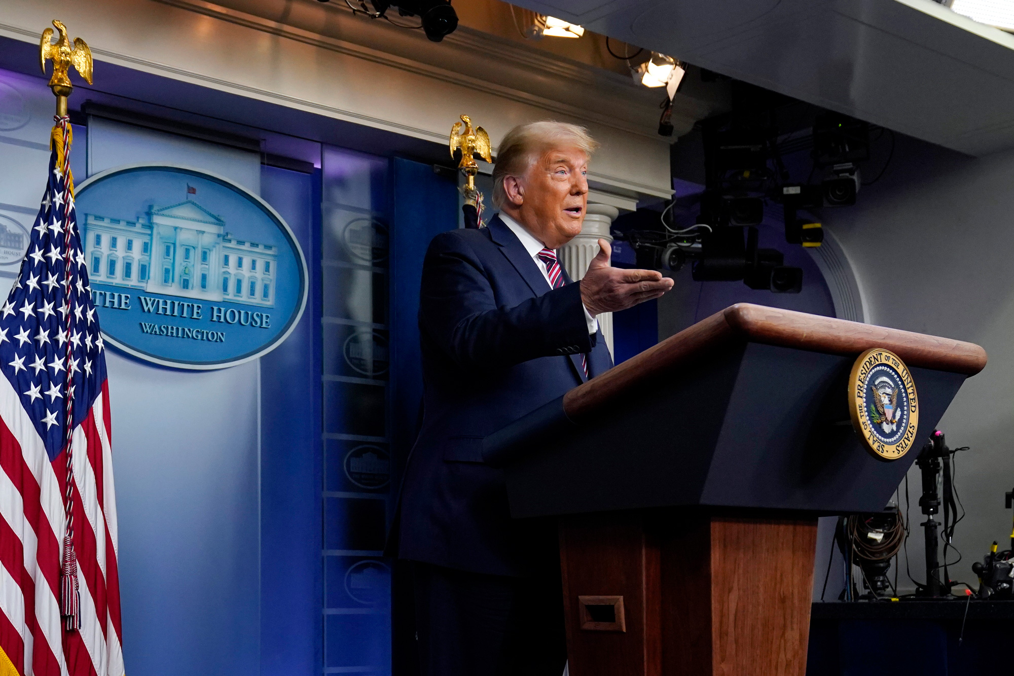 President Donald Trump speaks at the White House, Thursday, Nov. 5, 2020, in Washington, DC.