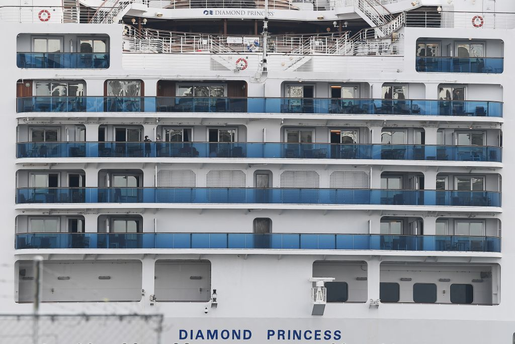 The Diamond Princess cruise ship, with around 3,600 people quarantined onboard due to fears of the new coronavirus, is seen at the Daikoku Pier Cruise Terminal in Yokohama port on February 14.