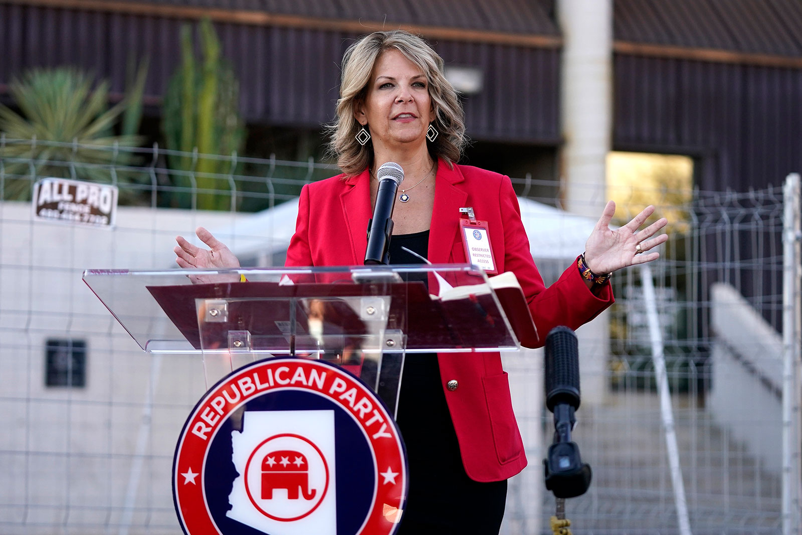 Kelli Ward holds a press conference at the Maricopa County Elections Department on Wednesday, November 18. (AP Photo/Ross D. Franklin)