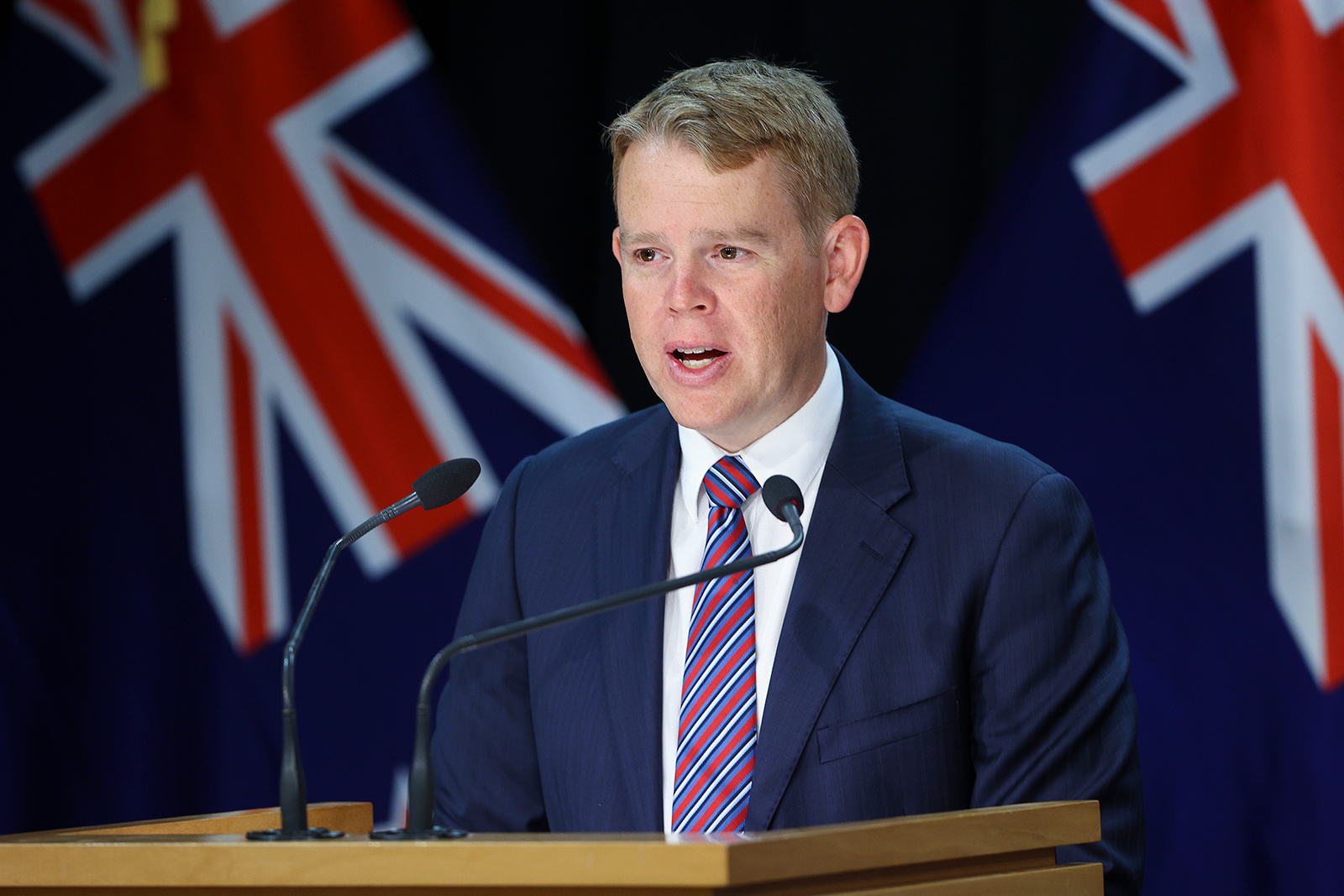Minister for Covid-19 Response Chris Hipkins speaks during a news conference at Parliament in Wellington, New Zealand, on January 24.