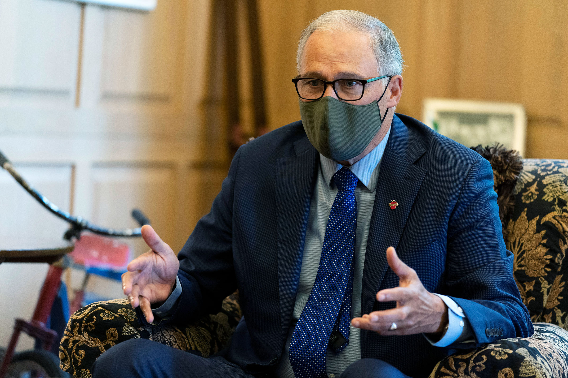 Gov. Jay Inslee takes part in an interview on September 25 at the Governor's Mansion in Olympia, Washington.