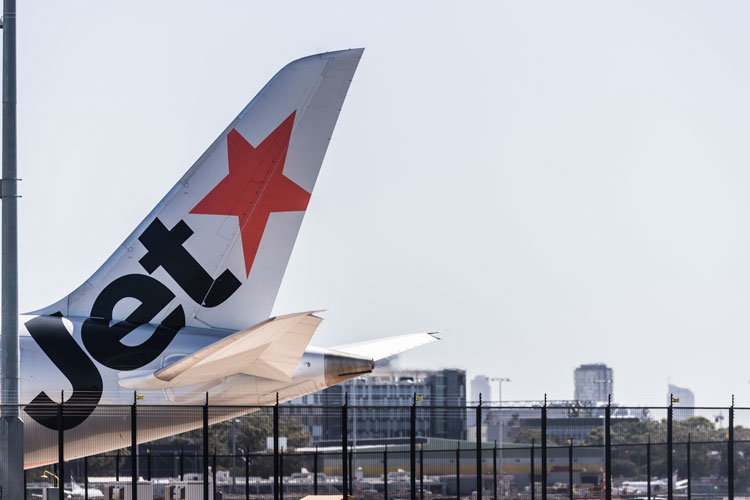 A general view of a grounded Jetstar plane on February 19 in Sydney, Australia.