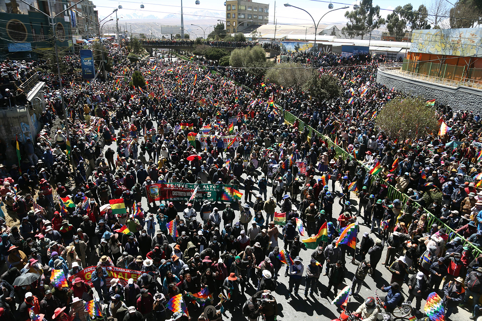Protesters take to the streets in Bolivia, on August 14.