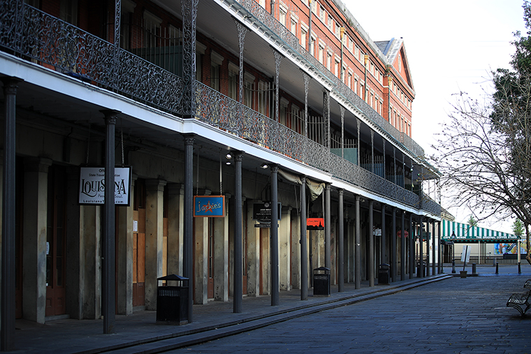 A view of an empty street in the French Quarter amid the coronavirus pandemic on March 27, in New Orleans