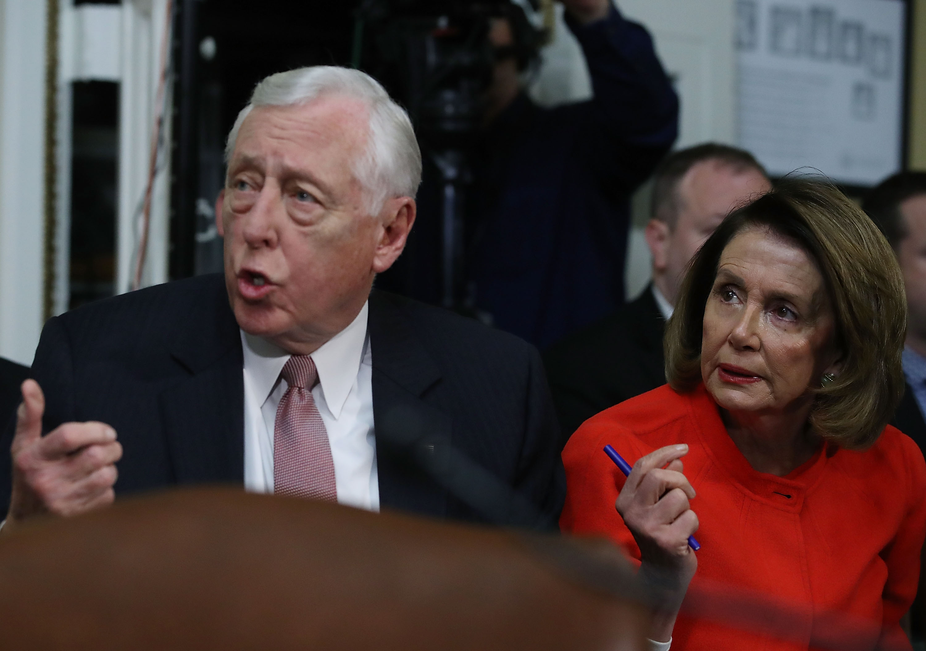 House Minority Leader Nancy Pelosi and House Minority Whip Steny Hoyer at the US Capitol in Washington, DC.