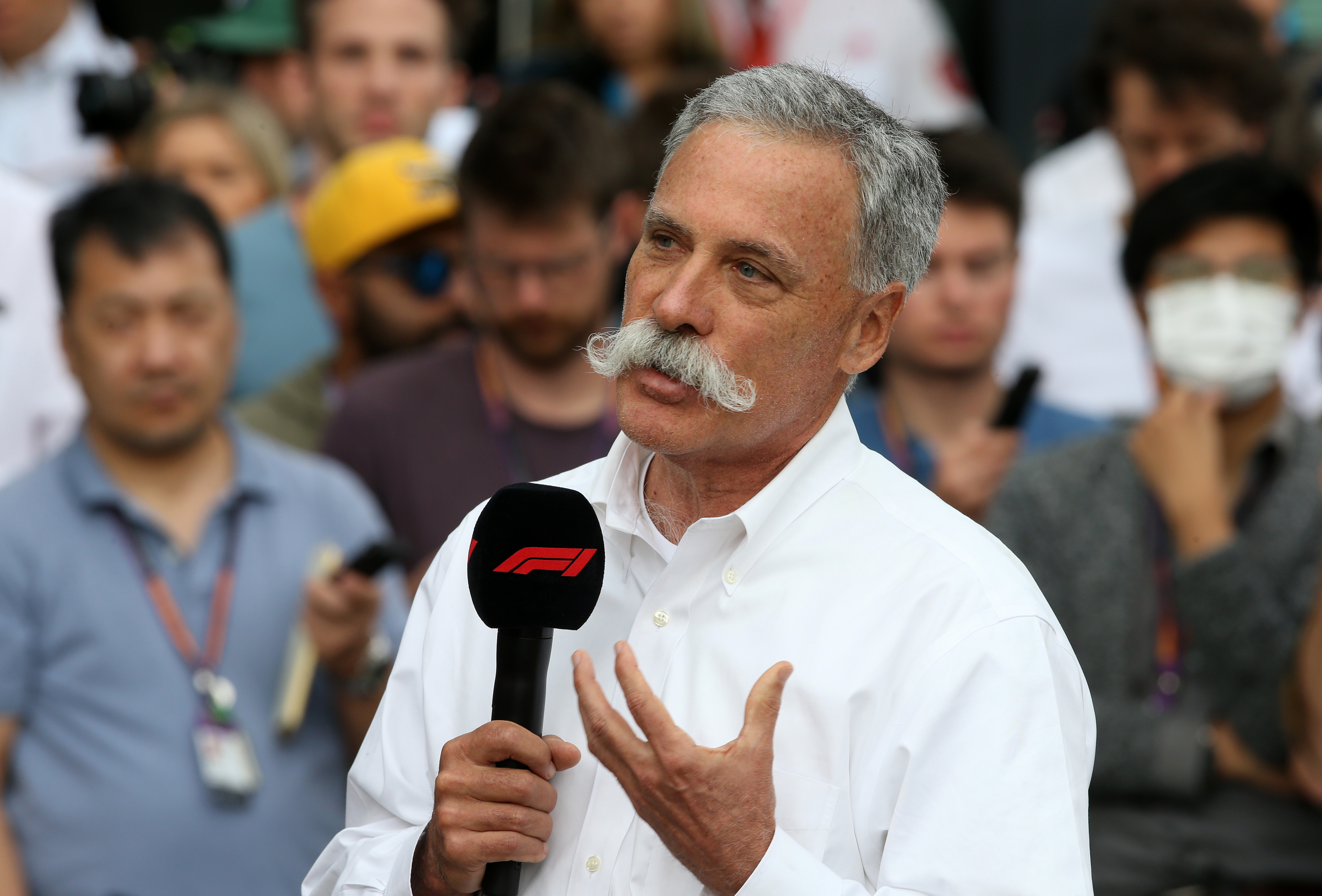 Formula One Chairman Chase Carey speaks at a press conference in Melbourne on March 13 after the F1 Grand Prix of Australia was cancelled at Melbourne Grand Prix Circuit.