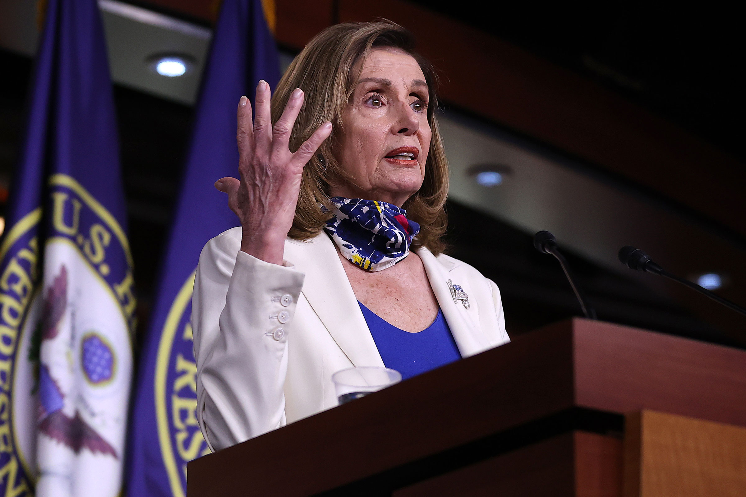 House Speaker Nancy Pelosi speaks during her weekly news conference on October 1 in Washington, DC.