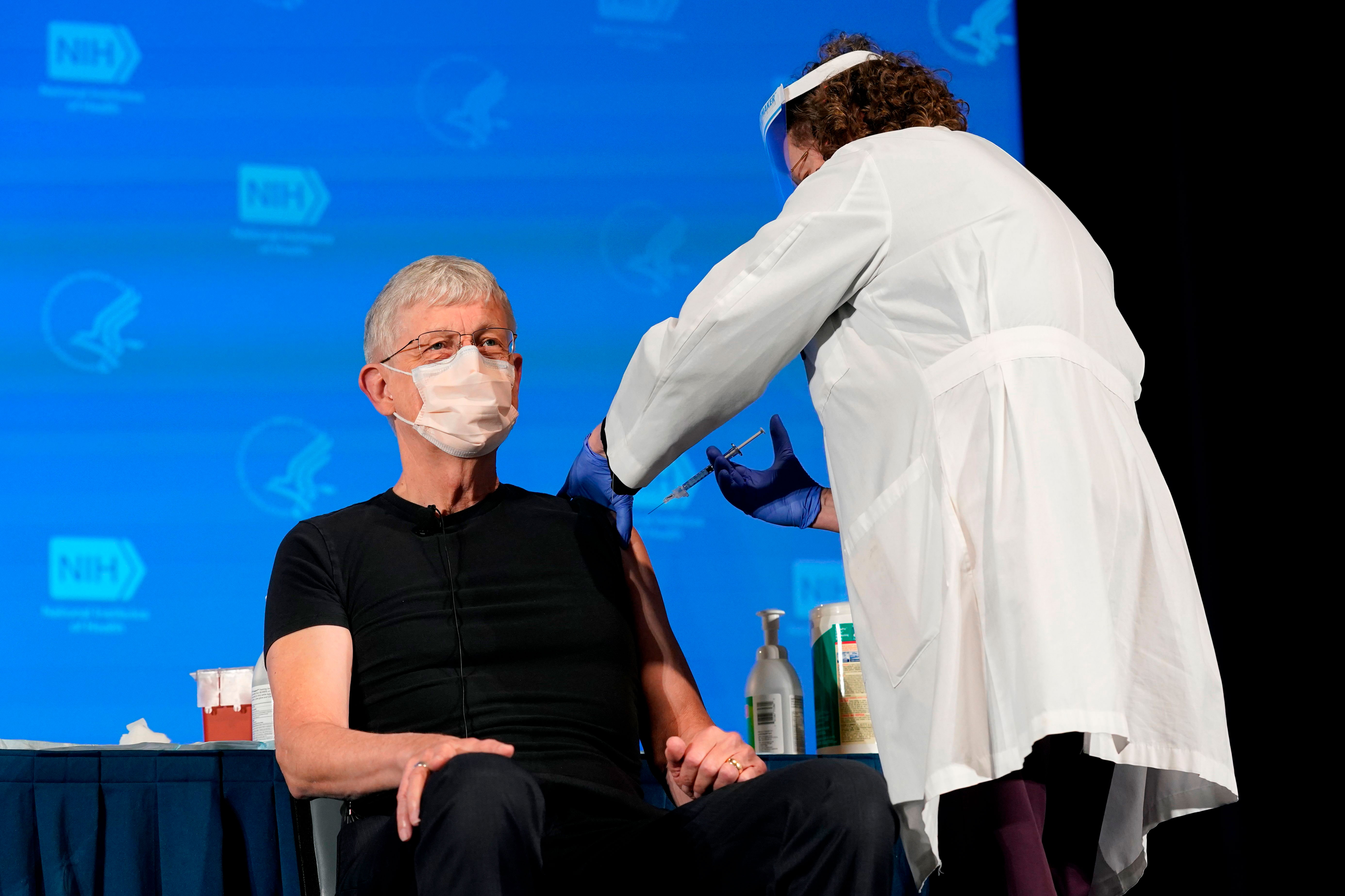 Dr. Francis Collins, director of the National Institutes of Health, receives his Covid-19 vaccine in Bethesda, Maryland, on December 22.