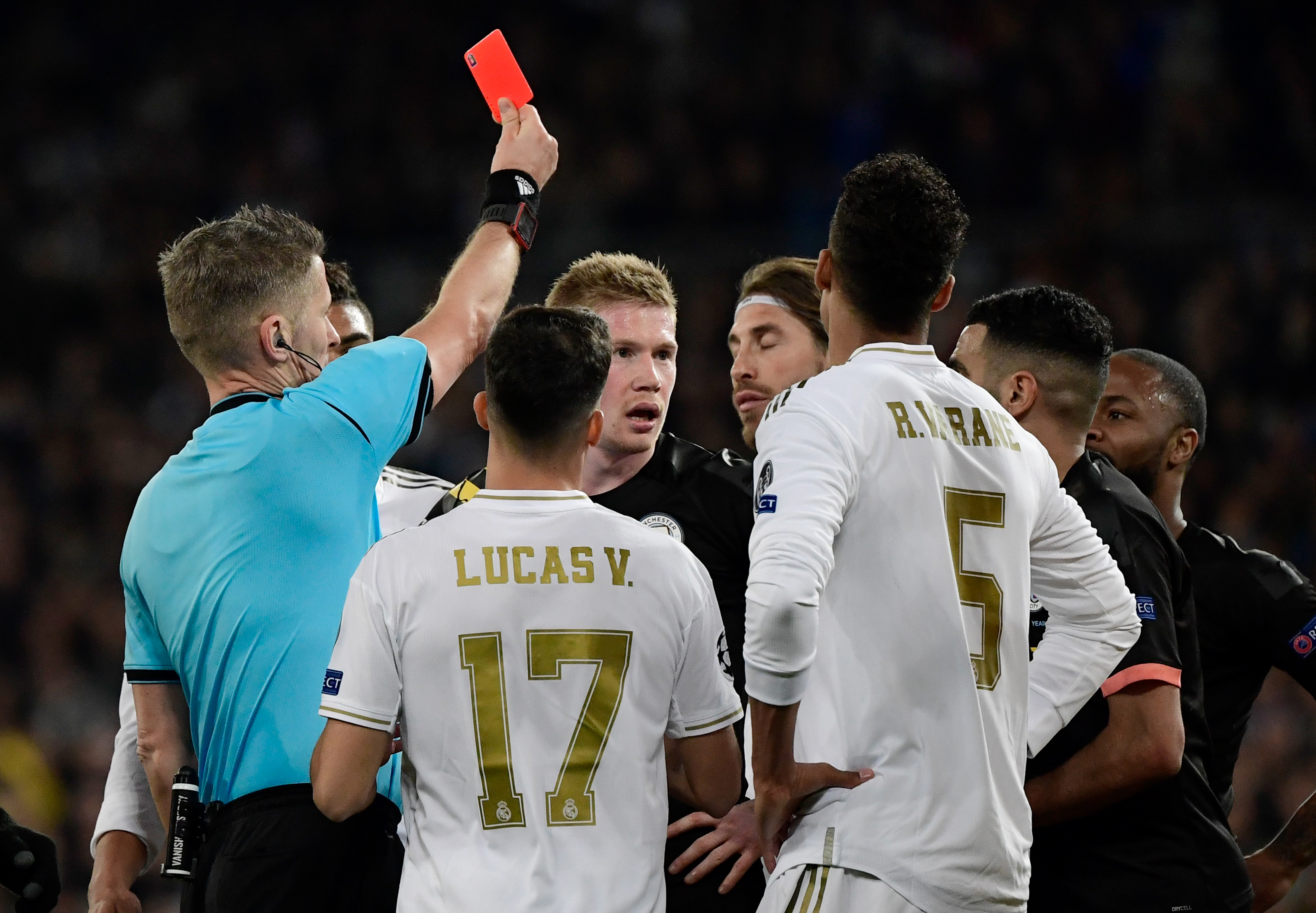 Sergio Ramos is shown a red card.