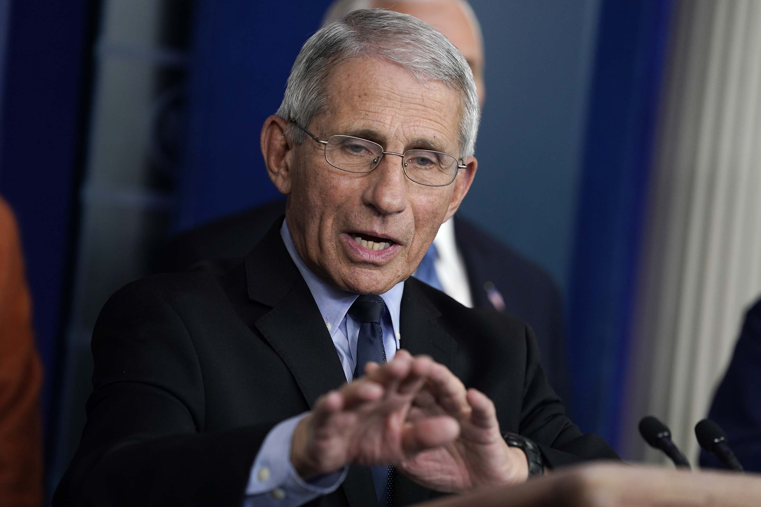 Dr. Anthony Fauci, Director of the National Institute of Allergy and Infectious Diseases, speaks during a press briefing with the coronavirus task force at the White House, on March 17.