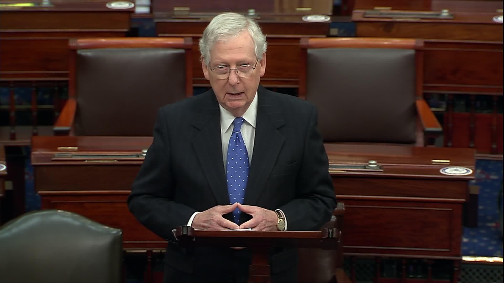 Senate Majority Leader Mitch McConnell speaks on the Senate floor on December 1.