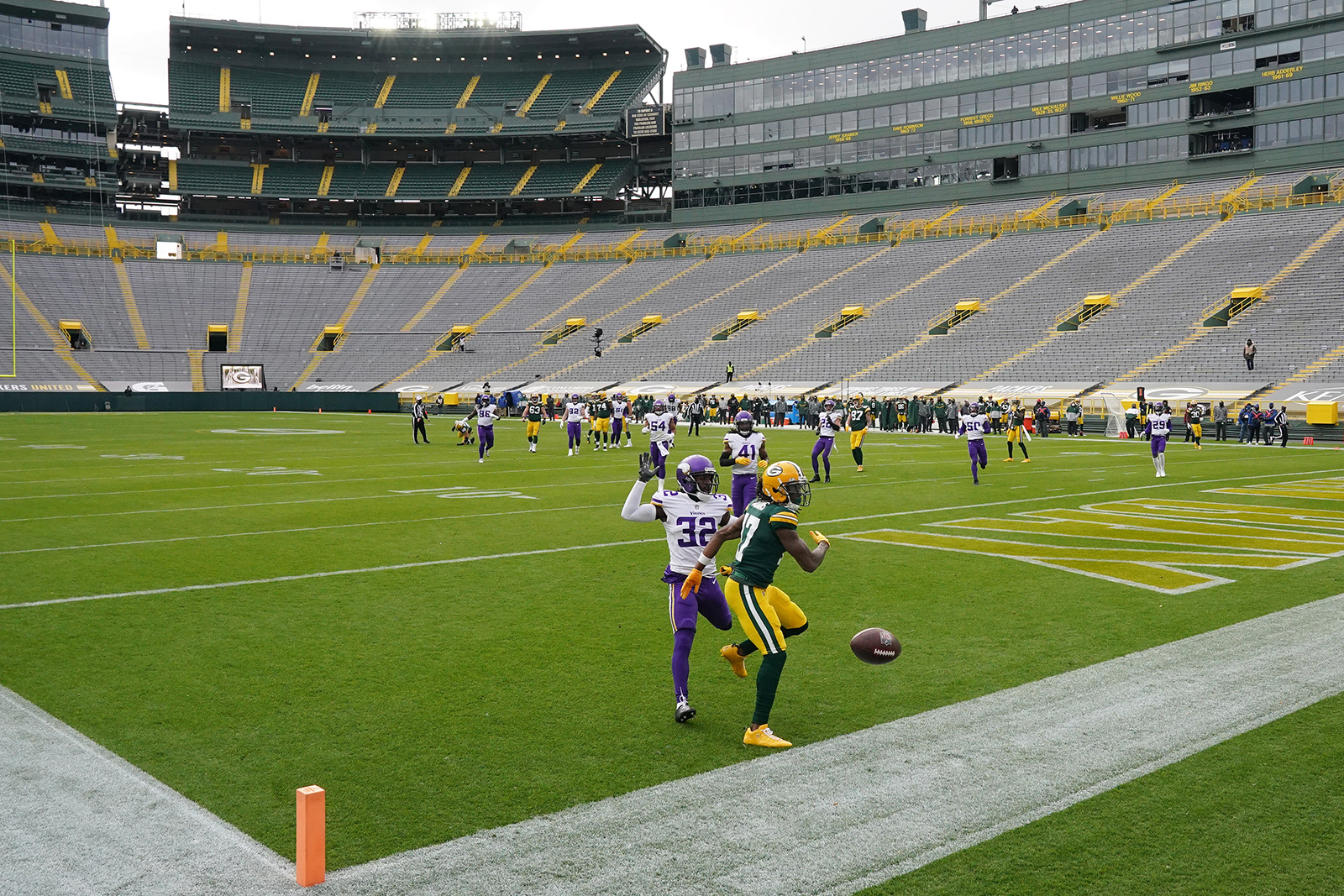 Green Bay Packers wide receiver Davante Adams (17) was unable to complete a touchdown pass as Minnesota Vikings cornerback Mark Fields (32) drew the pass interference call in the second quarter on Sunday, Nov. 1, at Lambeau Field in Green Bay, Wisconsin.