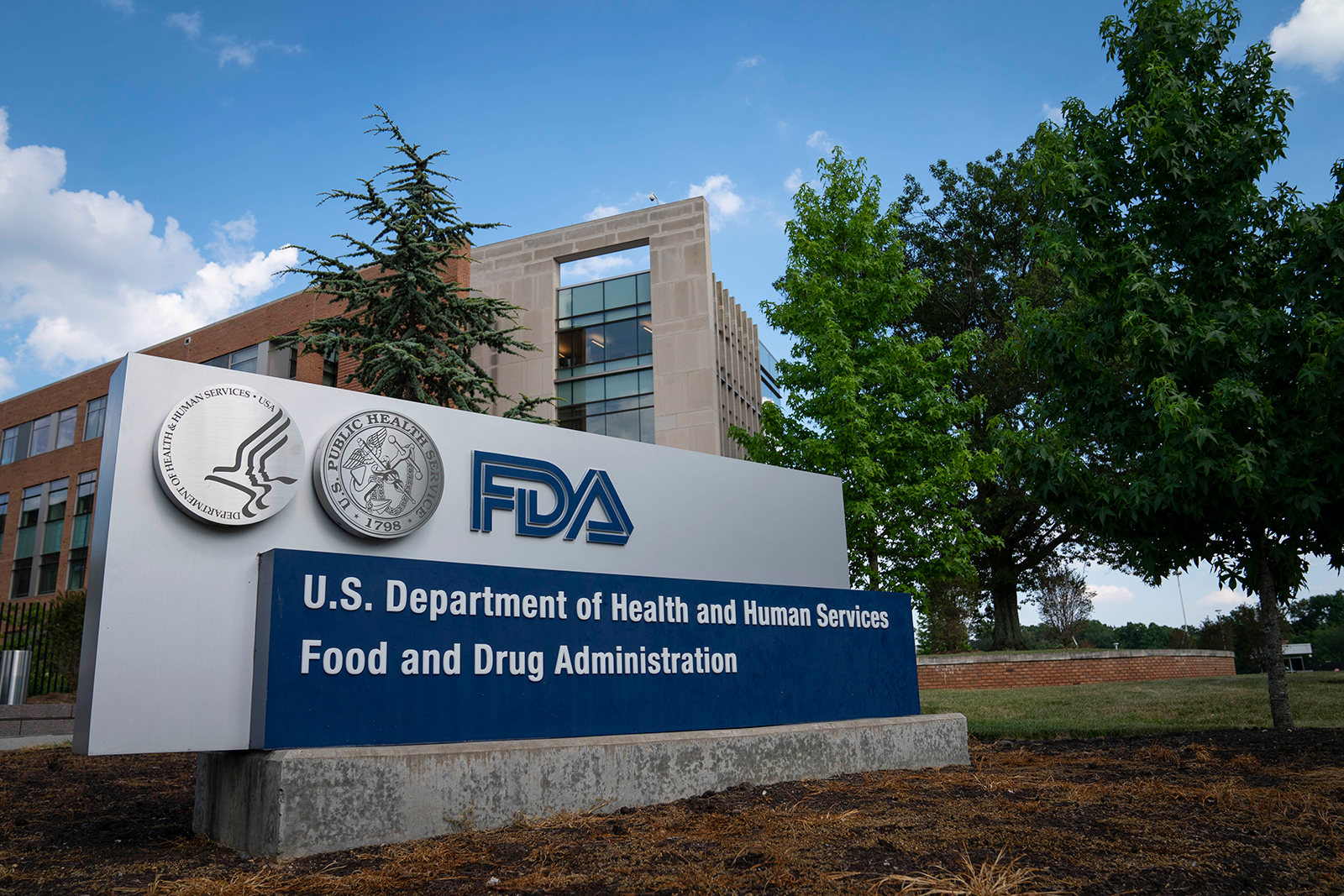 A sign for the Food And Drug Administration is seen outside of the headquarters in White Oak, Maryland, on July 20.