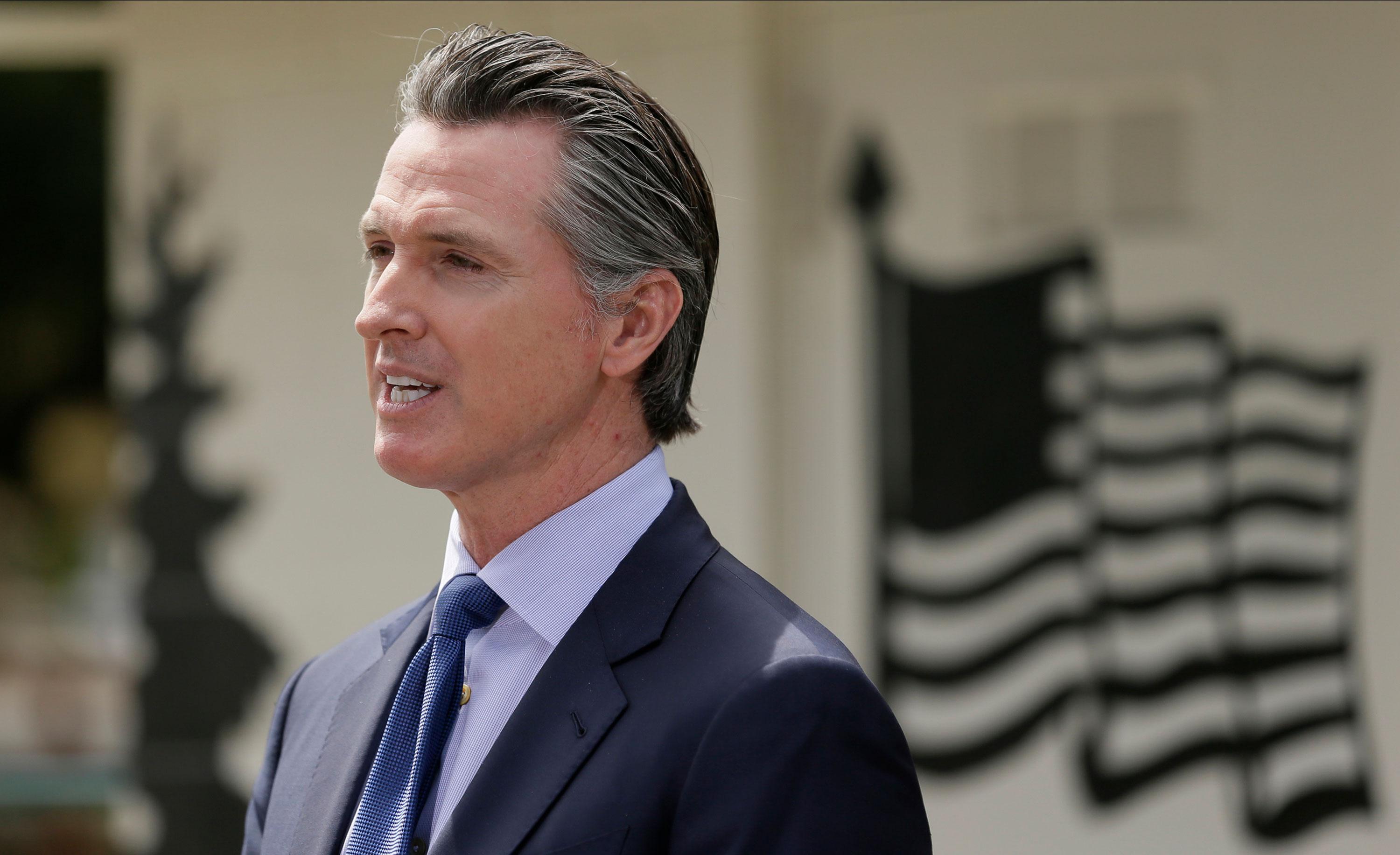 California Gov. Gavin Newsom speaks during a news conference at the Veterans Home of California in Yountville, California, on May 22.