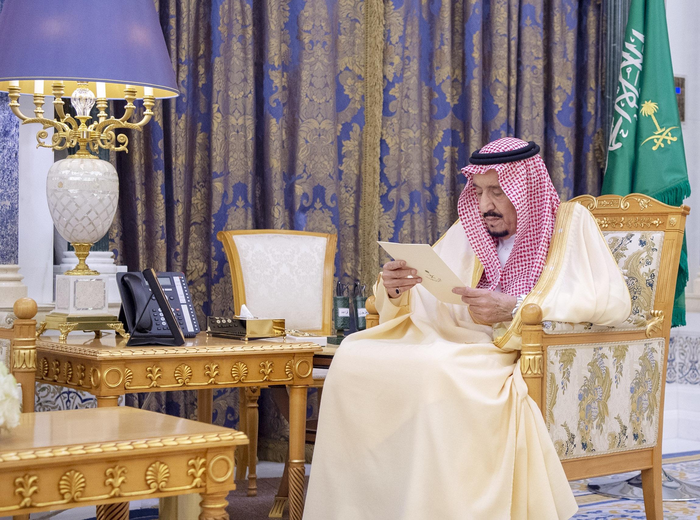 Saudi Arabian King Salman bin Abdulaziz al-Saud attends an oath ceremony on March 8, in Riyadh, Saudi Arabia.