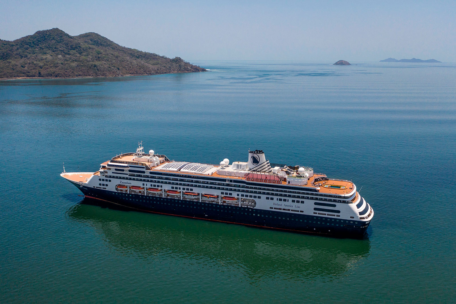 Holland America's Zaandam cruise ship enters Panama Bay on Friday, March 27.