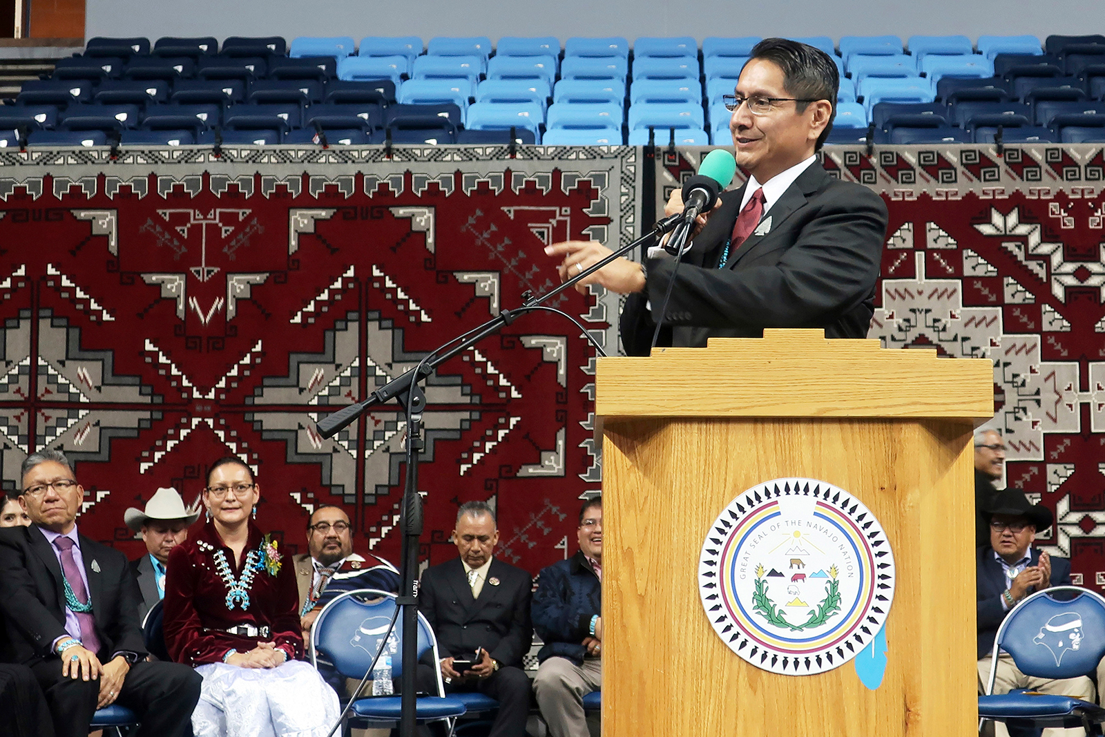 In this file photo, Jonathan Nez addresses a crowd after he was sworn in as president of the Navajo Nation in Fort Defiance, Arizona on January 15, 2019.